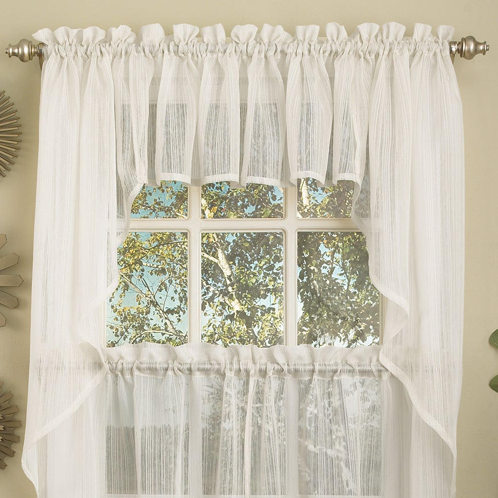 Micro Striped Semi Sheer Window Curtain Pieces Pertaining To Favorite White Micro Striped Semi Sheer Window Curtain Pieces – Tiers, Valance And  Swag Options (Gallery 4 of 20)