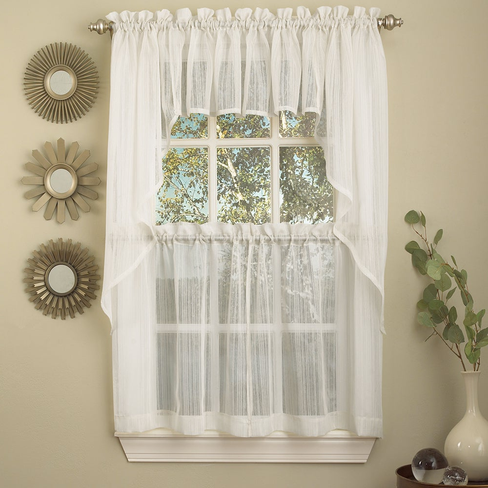 Micro Striped Semi Sheer Window Curtain Pieces Pertaining To Favorite White Micro Striped Semi Sheer Window Curtain Pieces – Tiers, Valance And  Swag Options (Gallery 2 of 20)
