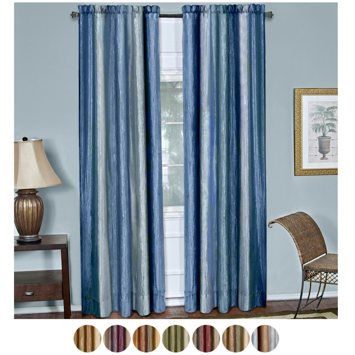 Micro Striped Semi Sheer Window Curtain Pieces Within Most Popular Details About Multi Color 2 Panel Pack Striped Modern Semi Sheer Window Curtain Drape (View 14 of 20)