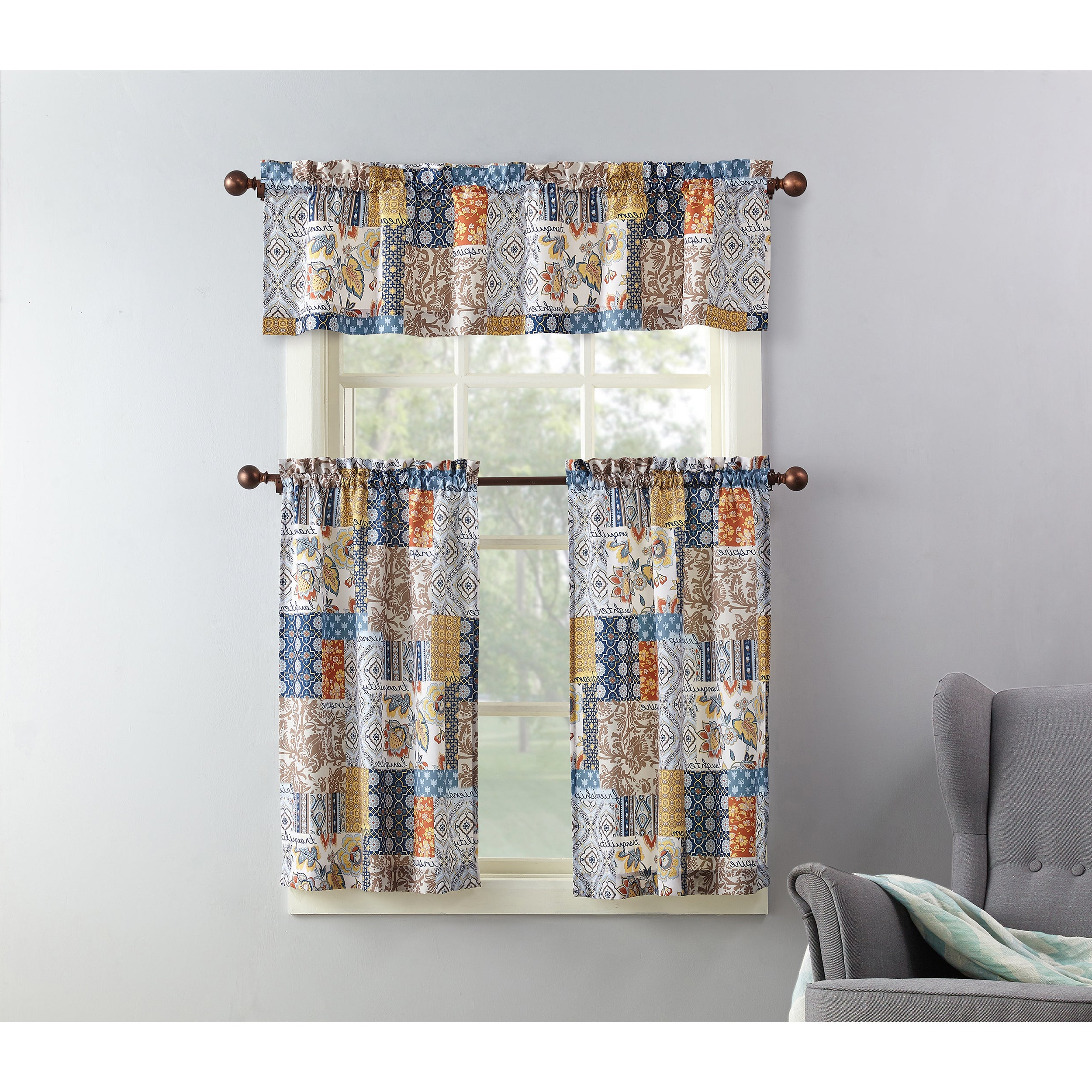 Microfiber 3 Piece Kitchen Curtain Valance And Tiers Sets In Most Popular No. 918 Antoinette Patchwork Print Microfiber 3 Piece Kitchen Curtain Valance And Tiers Set (Gallery 13 of 20)