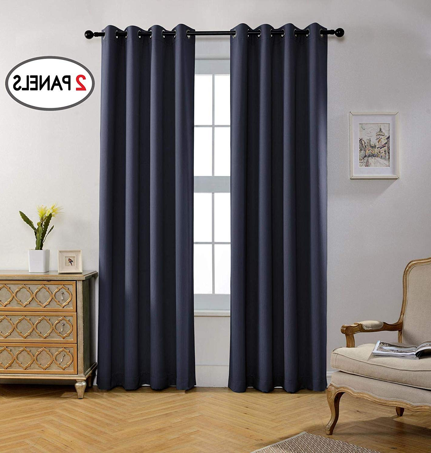 Miuco Blackout Curtains Room Darkening Textured Grommet Window Curtains 2  Panels Office 52X95 Inch Long Navy Blue In Well Liked Porch & Den Lorentz Silver 24 Inch Tier Pairs (Gallery 20 of 20)
