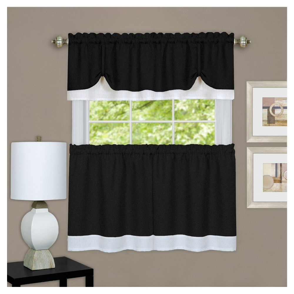 Modern Subtle Texture Solid Red Kitchen Curtains For Famous Achim Darcy Window Curtain Tier And Valance Set Black/white (View 11 of 20)