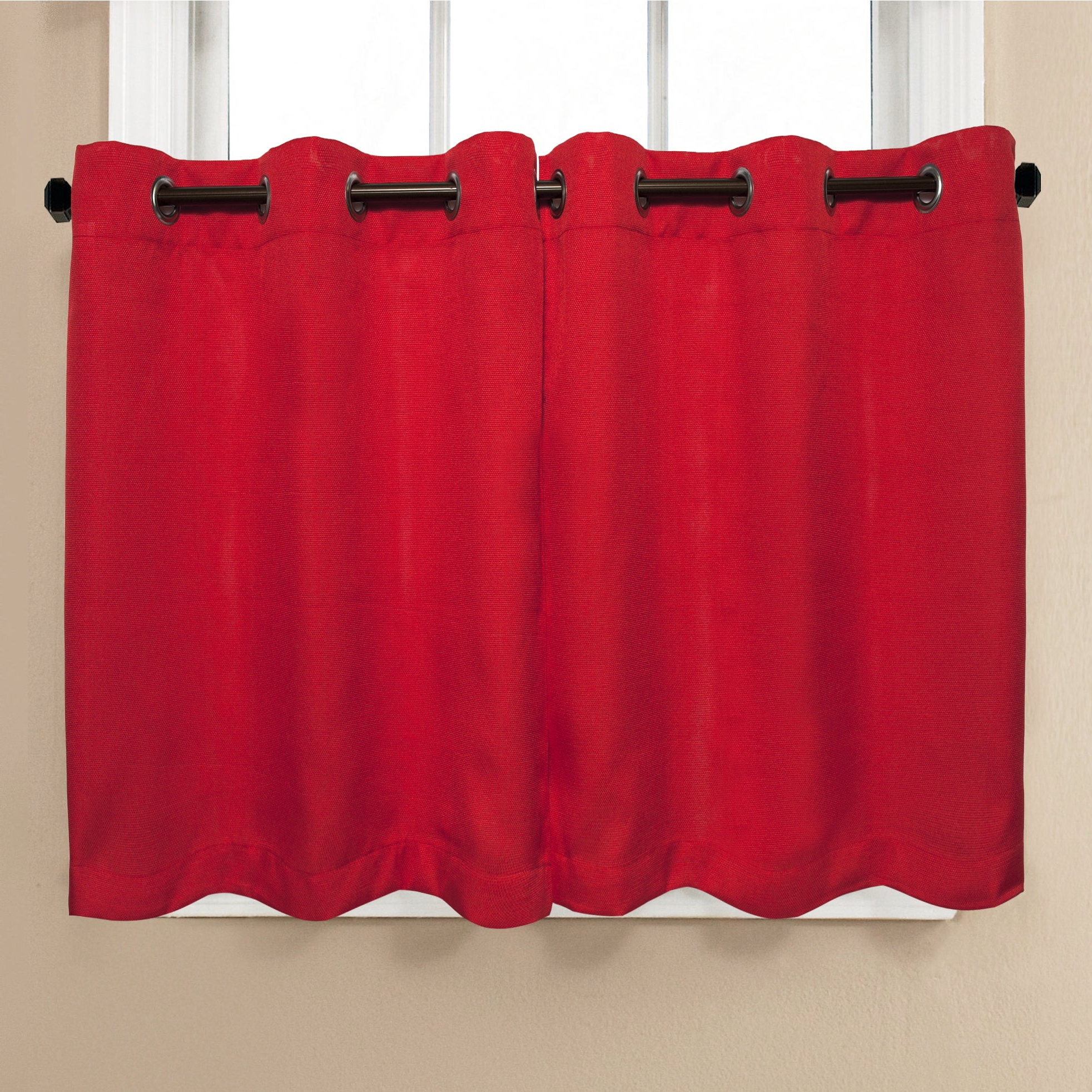 Modern Subtle Texture Solid Red Kitchen Curtains Throughout Most Up To Date Modern Subtle Texture Solid Red Kitchen Curtain Parts With Grommets Tier And Valance Options (Gallery 2 of 20)