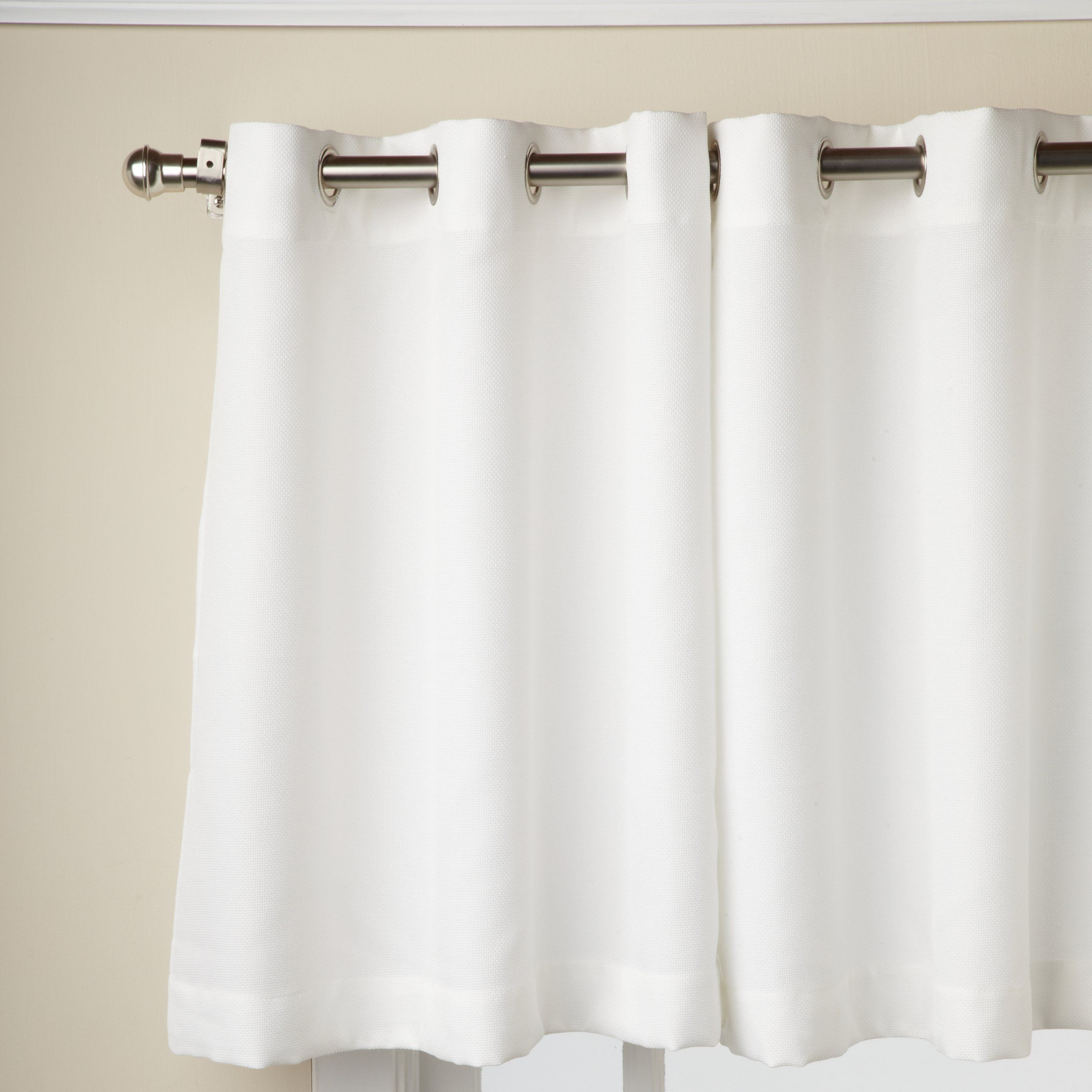 Modern Subtle Texture Solid White Kitchen Curtain Parts With Grommets Tier And Valance Options Inside Most Up To Date Amazon: Lorraine Home Fashions Jackson 58 Inch X 24 Inch (View 12 of 20)