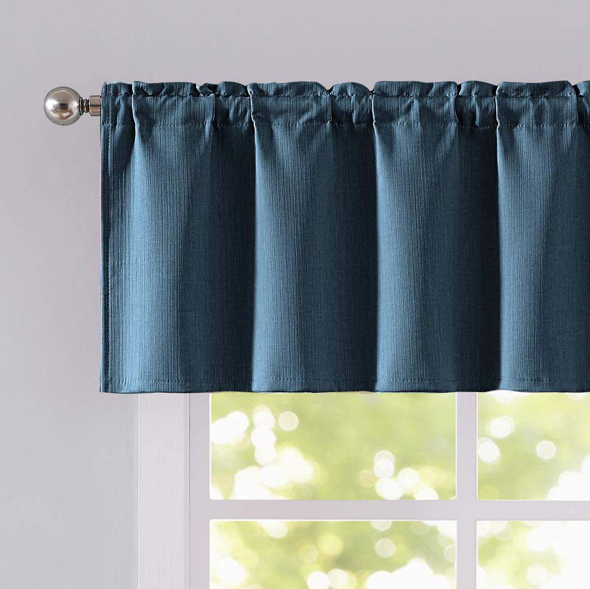 "Modern Subtle Texture Solid White Kitchen Curtain Parts With Grommets Tier And Valance Options Pertaining To Fashionable Natwin Blue Valance Window Curtain For Bedroom 18"" Blue Valance For Kitchen Window Rod Pocket 52"" Width 1 Panel (View 10 of 20)"