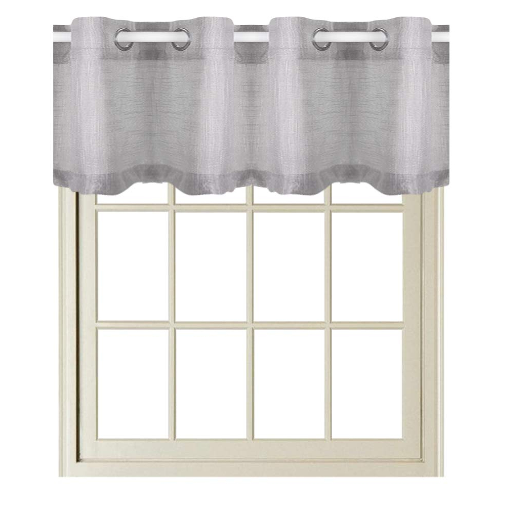 "Modern Subtle Texture Solid White Kitchen Curtain Parts With Grommets Tier And Valance Options Throughout Recent Rayzon Sheer Curtains Valance Window Curtains For Living Room Curtains Grommet Light Gray Valance Linen Texeture Bathroom Curtain 16"" L, 1 Pc (View 19 of 20)"