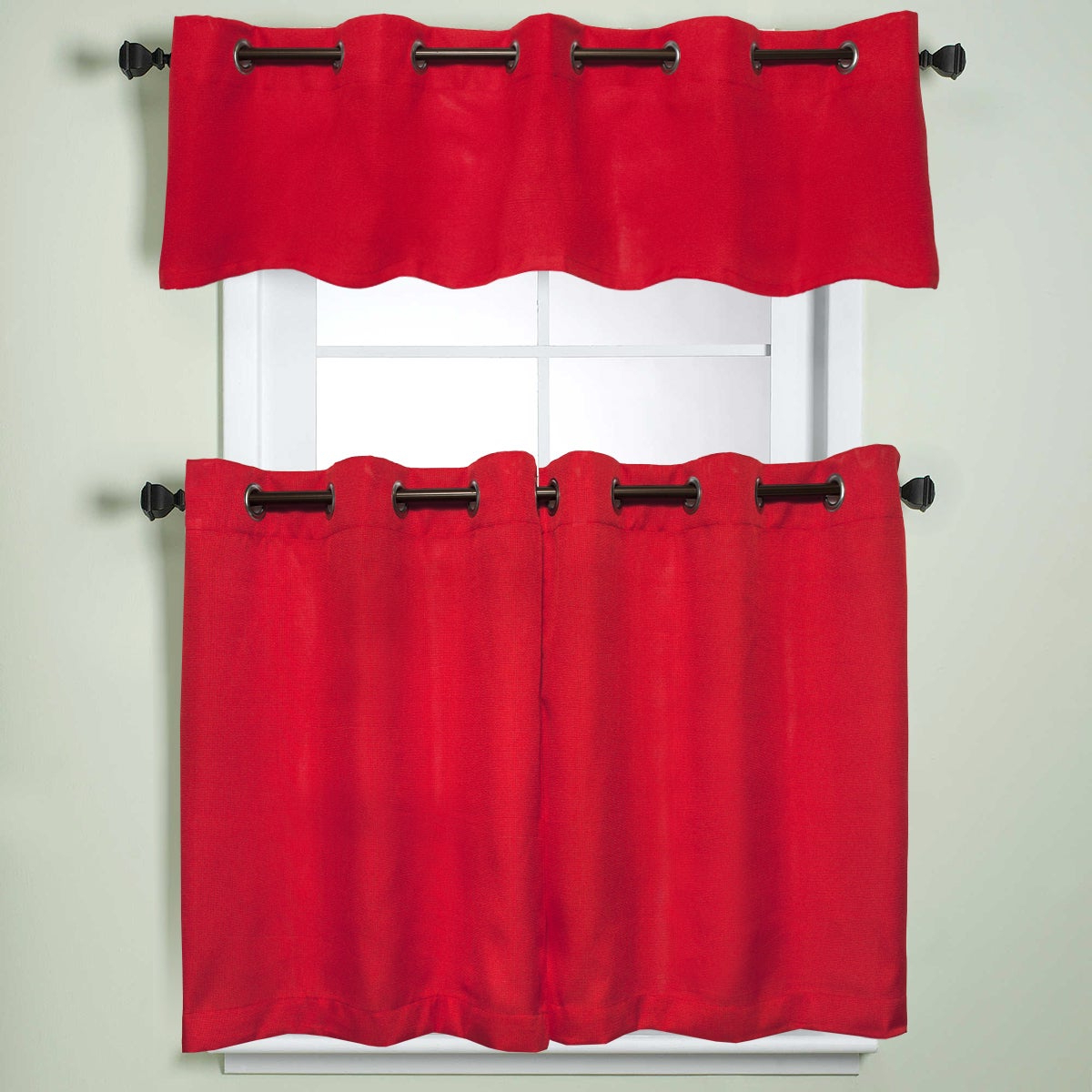 Modern Subtle Texture Solid White Kitchen Curtain Parts With Grommets Tier And Valance Options With Best And Newest Modern Subtle Texture Solid Red Kitchen Curtain Parts With Grommets Tier And Valance Options (View 4 of 20)