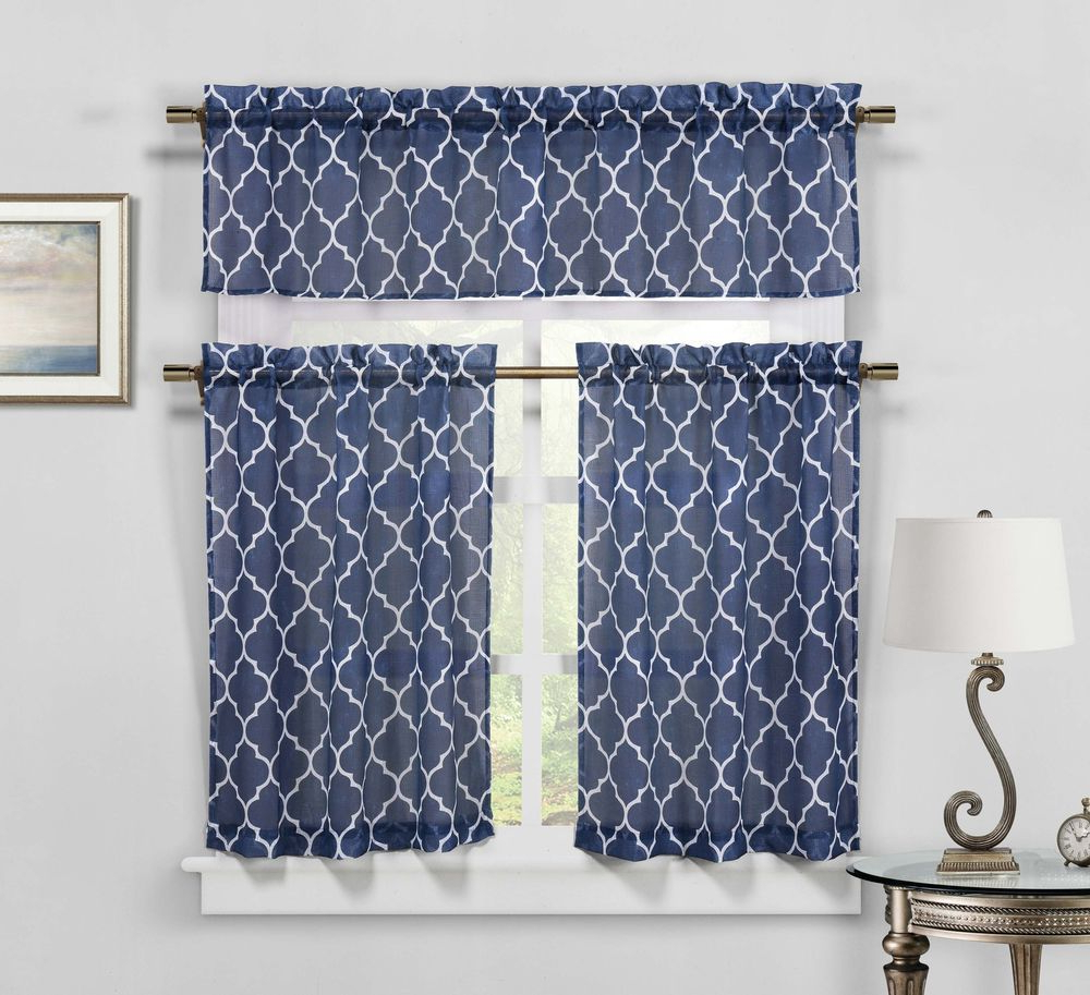 Moroccan Geometric Kitchen Window Curtain Tier & Valance Pertaining To Famous Delicious Apples Kitchen Curtain Tier And Valance Sets (View 17 of 20)
