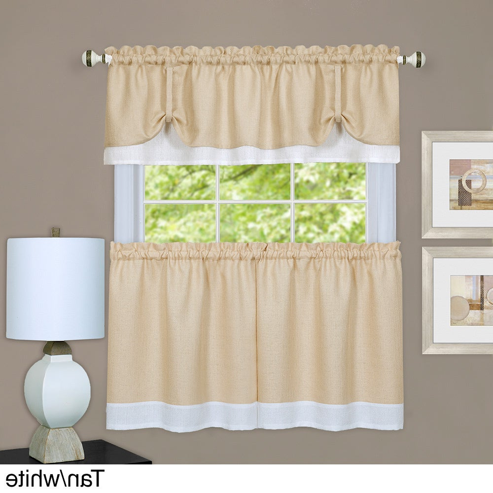Most Current Achim Darcy Window Curtain Tier And Valance Set Throughout Solid Microfiber 3 Piece Kitchen Curtain Valance And Tiers Sets (Gallery 19 of 20)