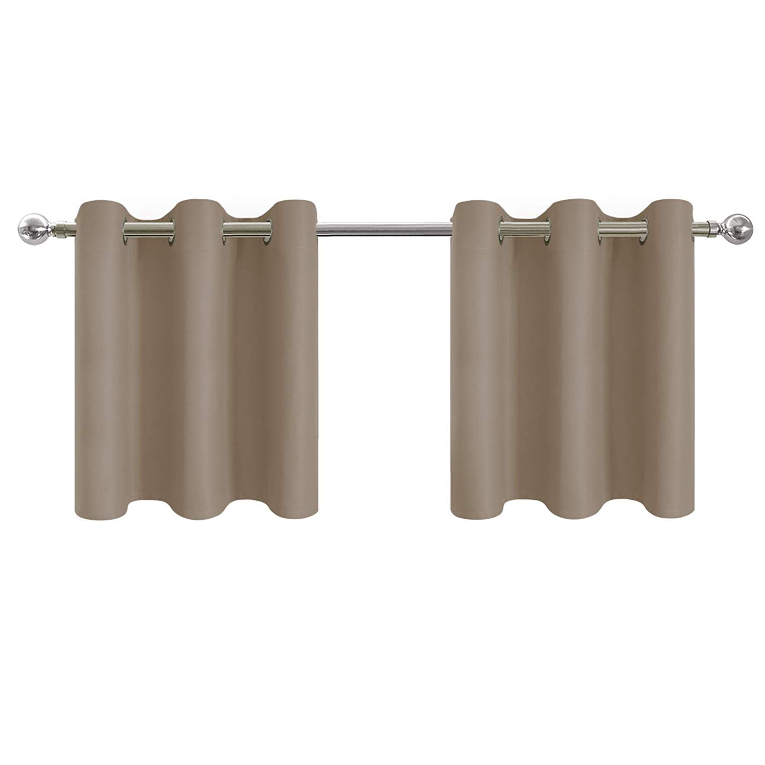 Most Current Aquazolax Taupe Window Valances Short Curtains Drapes For Kitchen – Energy Smart Eyelet Top Solid Thermal Insulated Blackout Curtain Tiers, 42w24l Throughout Luxurious Kitchen Curtains Tiers, Shade Or Valances (View 6 of 20)