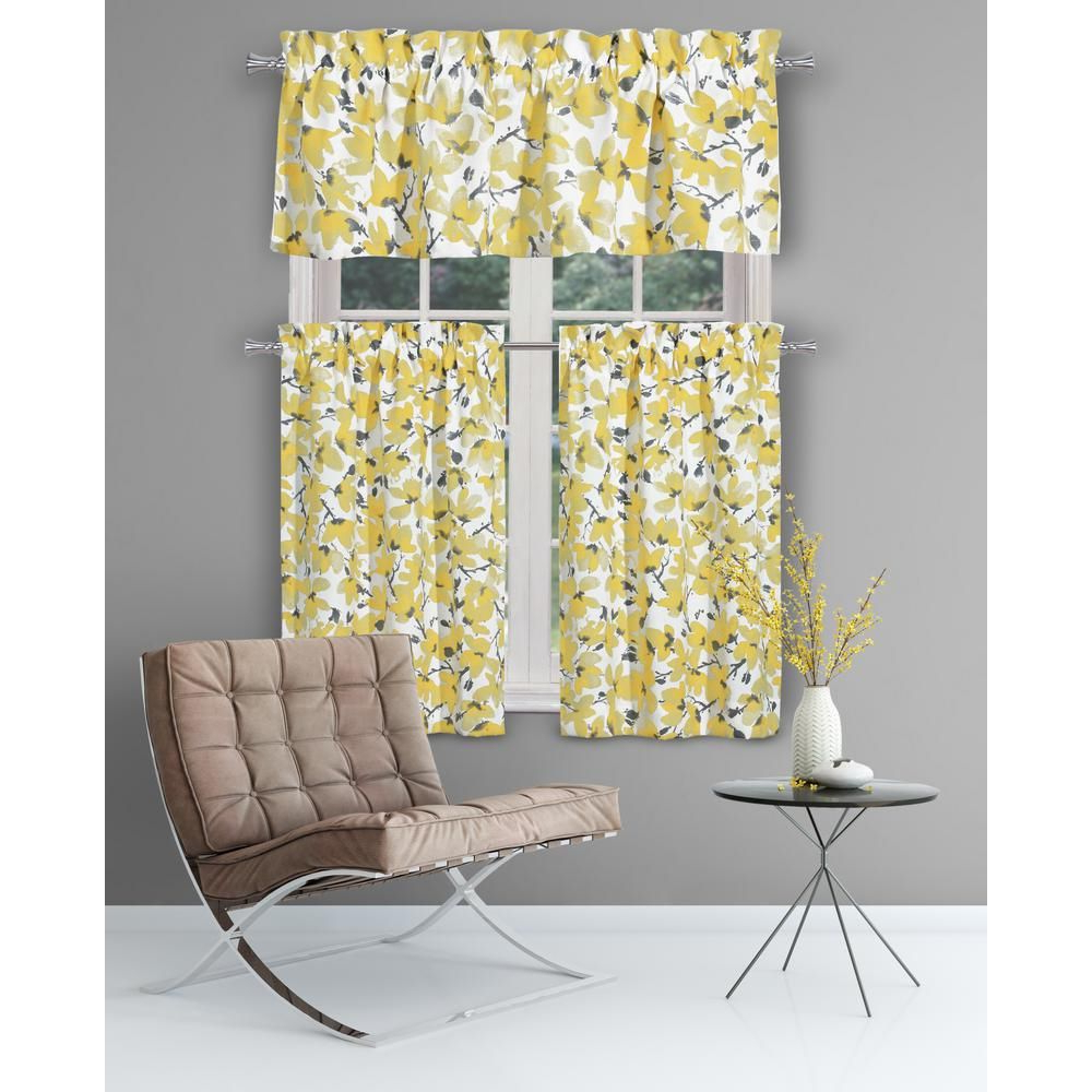 Most Current Bermuda Ruffle Kitchen Curtain Tier Sets Throughout Yellow Kitchen Curtain Sets – Martinique (Gallery 14 of 20)