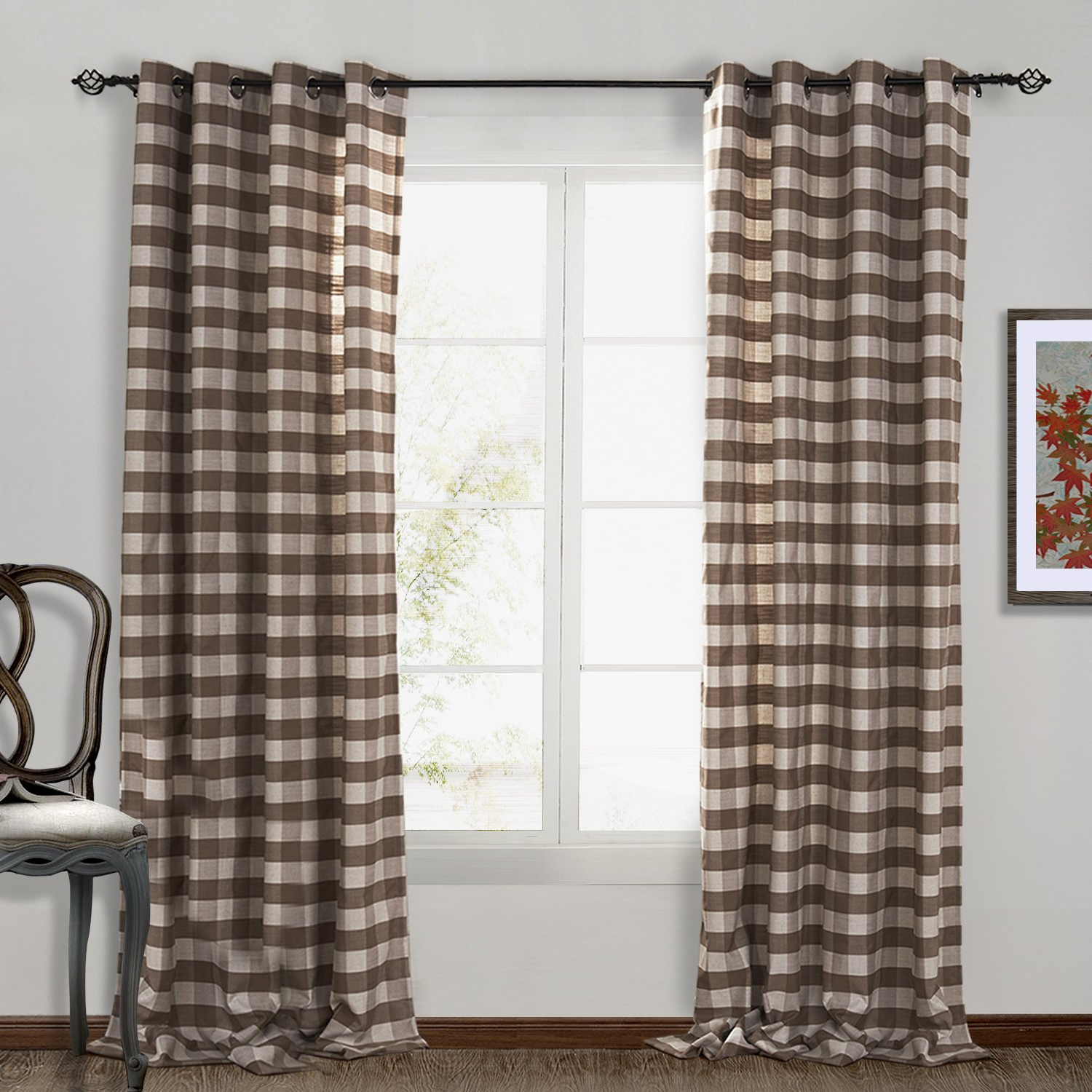 Most Current Chadmade Eco Friendly Premium Country Classic Check Plaid Cotton Nickel Grommet Eyelet Window Curtain Panel Drapes (1 Panel) Light Brown 50wx96l Inch Inside Cotton Blend Classic Checkered Decorative Window Curtains (View 16 of 20)
