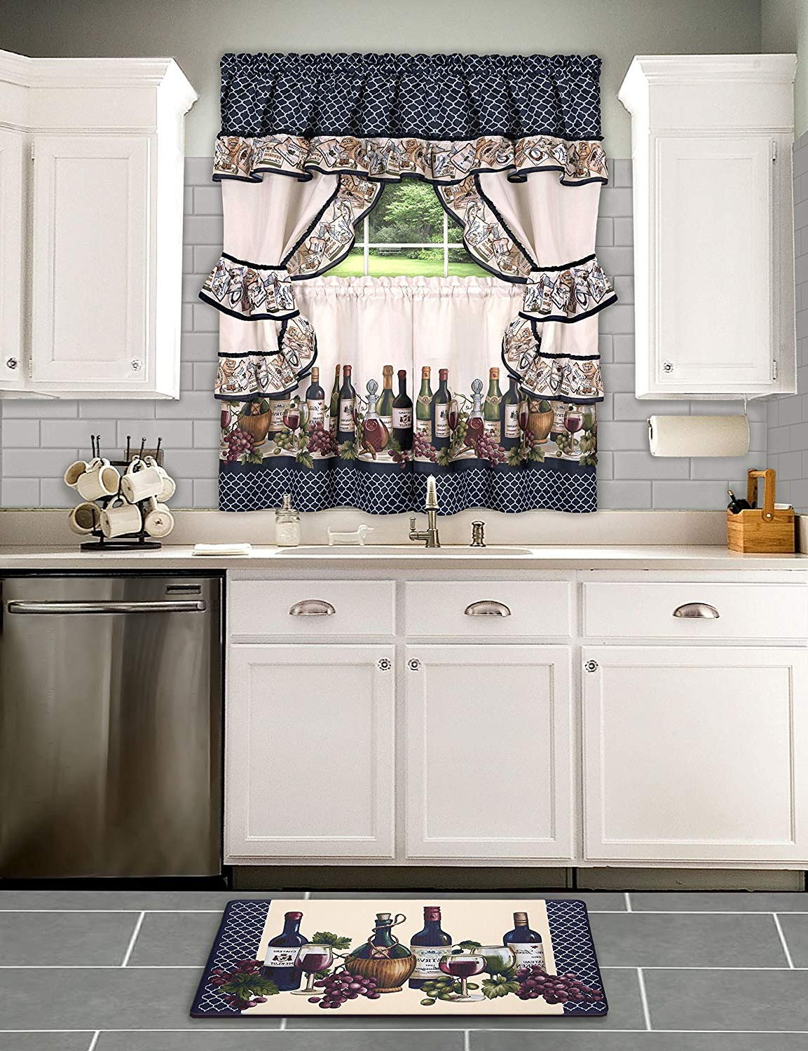 Most Current Chateau Wines Cottage Kitchen Curtain Tier And Valance Sets Pertaining To Achim Home Furnishings Chateau Window Curtain Cottage Set, 57 Inch X 36 Inch, Navy, 57 X 36, (Gallery 13 of 20)