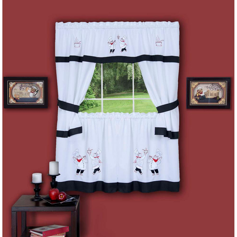 Most Current Chateau Wines Cottage Kitchen Curtain Tier And Valance Sets Within Achim Sheer Gourmet Black Embellished Cottage Window Curtain Set – 58 In. W X 36 In (View 8 of 20)