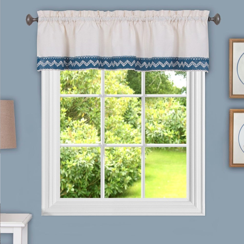 Most Current Class Blue Cotton Blend Macrame Trimmed Decorative Window Curtain  Separates, Tier Pair And Valance Options Inside Class Blue Cotton Blend Macrame Trimmed Decorative Window Curtains (Gallery 4 of 17)