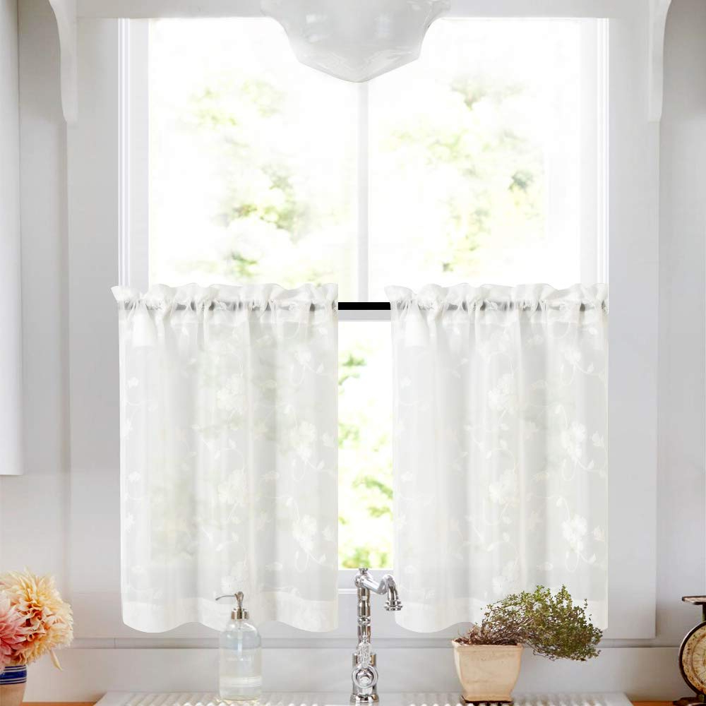 Most Current Coffee Embroidered Kitchen Curtain Tier Sets Within Tier Curtains White 45 Inch Length Kitchen Cafe Floral Embroidered Sheer Window Curtain Set For Bathroom Semi Sheer Curtains Voile Floral Drapes Rod (Gallery 12 of 20)