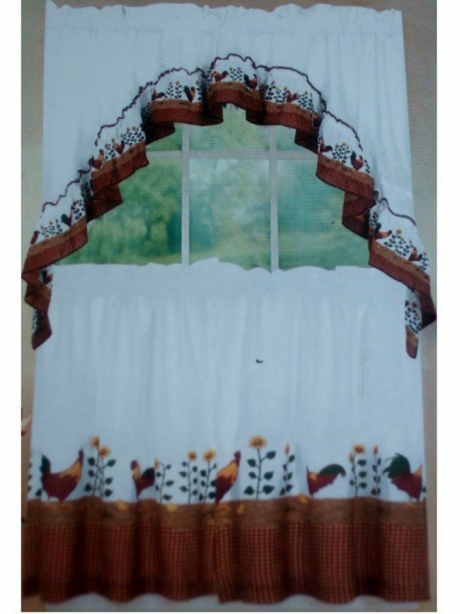 Most Current Country Roosters And Sunflowers Kitchen Curtains Set In 2019 Throughout Top Of The Morning Printed Tailored Cottage Curtain Tier Sets (View 17 of 20)