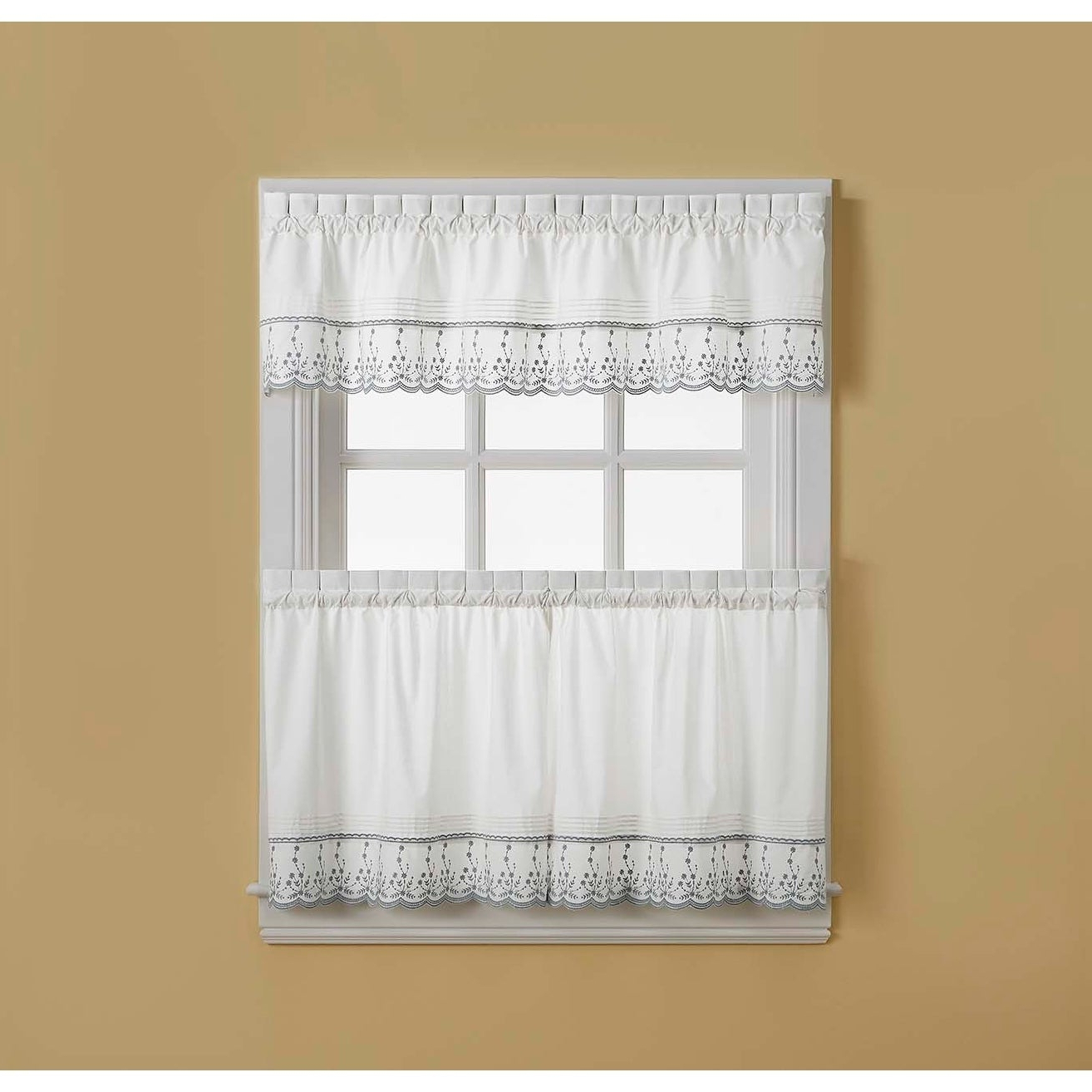 Most Current Cumberland Tier Pairs In Dove Gray Pertaining To Abby Tailored Valance And Tier Curtain Collection (View 9 of 20)