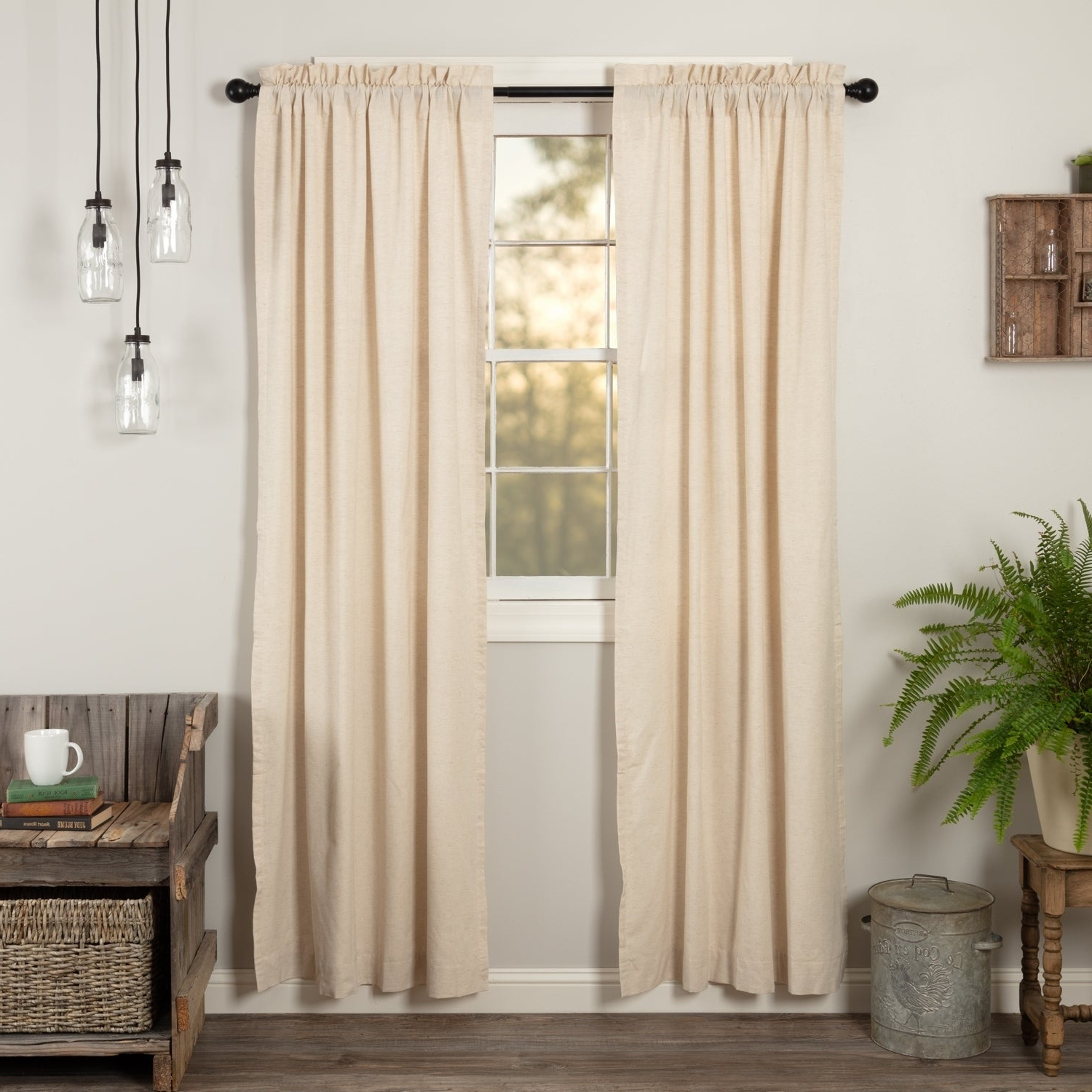 Most Current Details About Farmhouse Curtains Vhc Simple Life Flax Panel Pair Rod Regarding Rod Pocket Cotton Linen Blend Solid Color Flax Kitchen Curtains (View 18 of 20)
