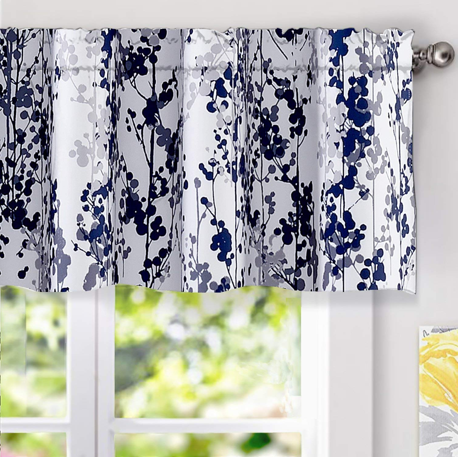 Most Current Driftaway Leah Abstract Floral Blossom Ink Painting Window Curtain Valance Rod Pocket 52 Inch18 Inch Plus 2 Inch Header Navy Silver Gray For Floral Blossom Ink Painting Thermal Room Darkening Kitchen Tier Pairs (View 8 of 20)