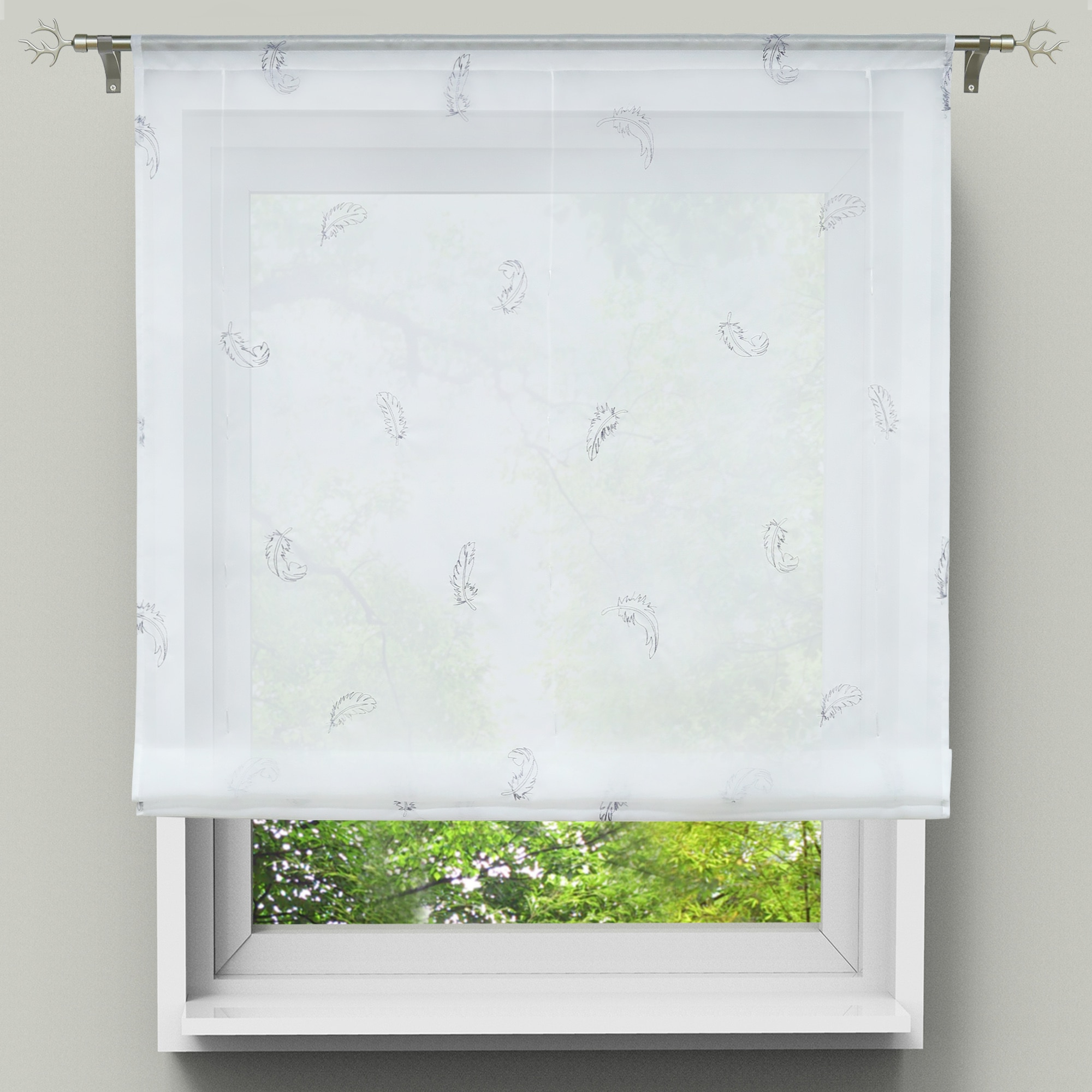 Most Current Europe Kitchen Short Curtains Roman Blinds Feature Embroidered White Sheer  Panel Balcony Semi Shade Short Curtain Window Decor Throughout Embroidered Rod Pocket Kitchen Tiers (View 11 of 20)