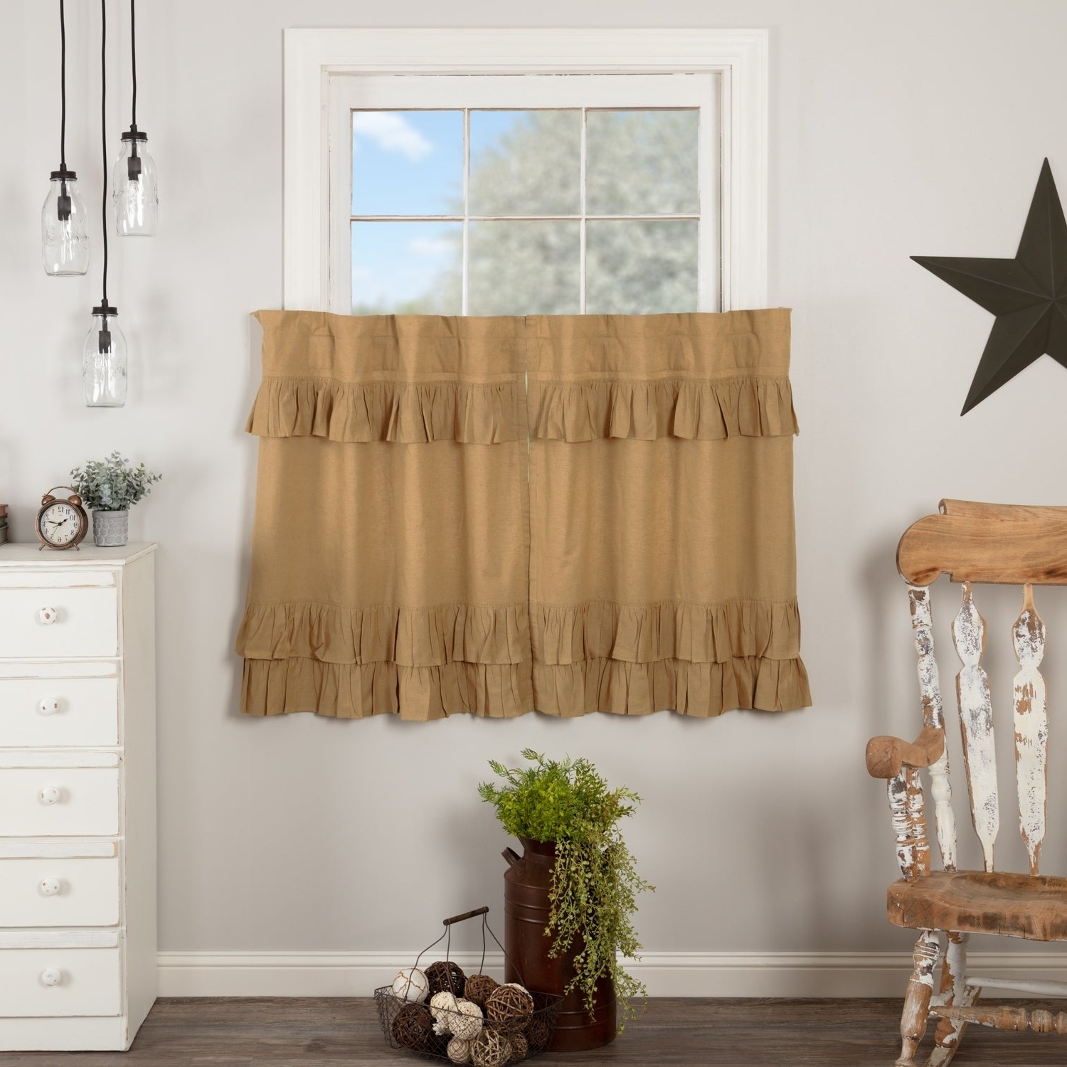 Most Current Farmhouse Kitchen Curtains Vhc Simple Life Flax Tier Pair Rod Pocket Cotton  Linen Blend Solid Color Flax Intended For Simple Life Flax Tier Pairs (View 6 of 20)