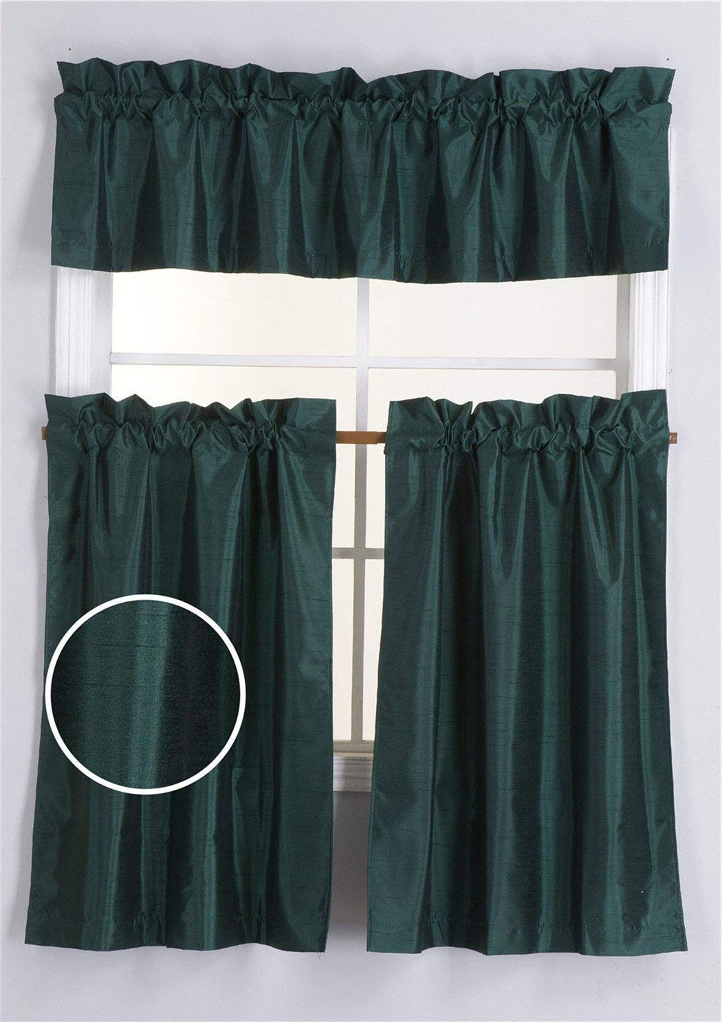 Most Current Faux Silk 3 Piece Kitchen Curtain Sets Regarding Elegant Home 3 Piece Solid Color Faux Silk Semi Blackout Kitchen Window Curtain Set With Tiers And Valance Solid Color White Lined Thermal Blackout (Gallery 9 of 20)
