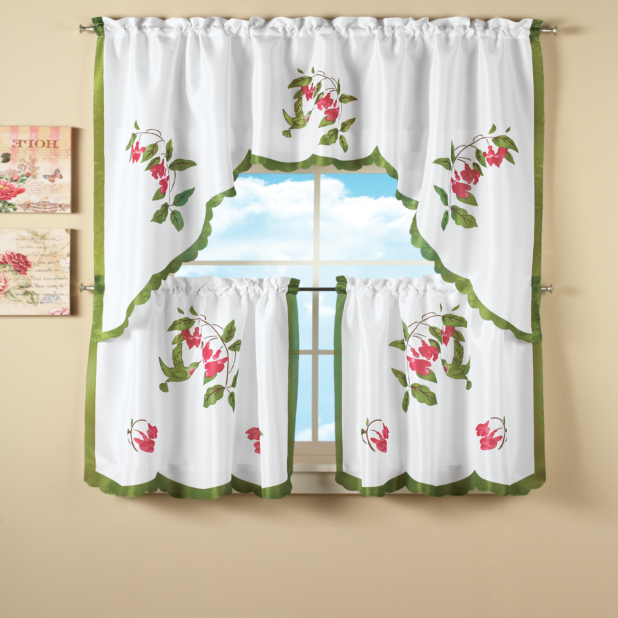 Most Current Hummingbird And Flowers Tier Curtain Set For Multicolored Printed Curtain Tier And Swag Sets (Gallery 16 of 20)