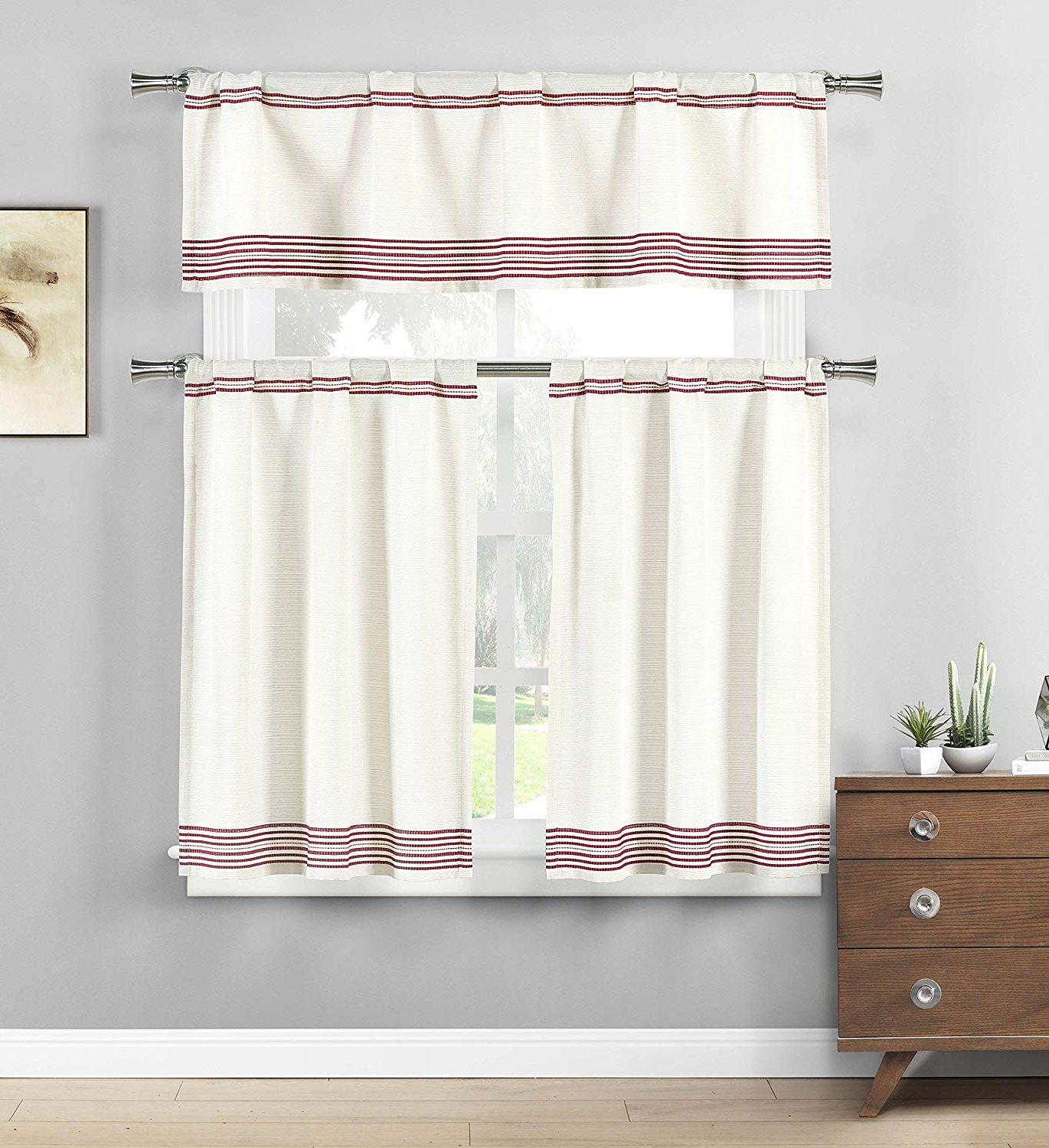 Most Current Kitchen Burgundy/white Curtain Sets Throughout Three Piece Cotton Rich Kitchen/cafe Tier Window Curtain Set: Off White  With Stripe Pattern (Burgundy) (Gallery 2 of 20)