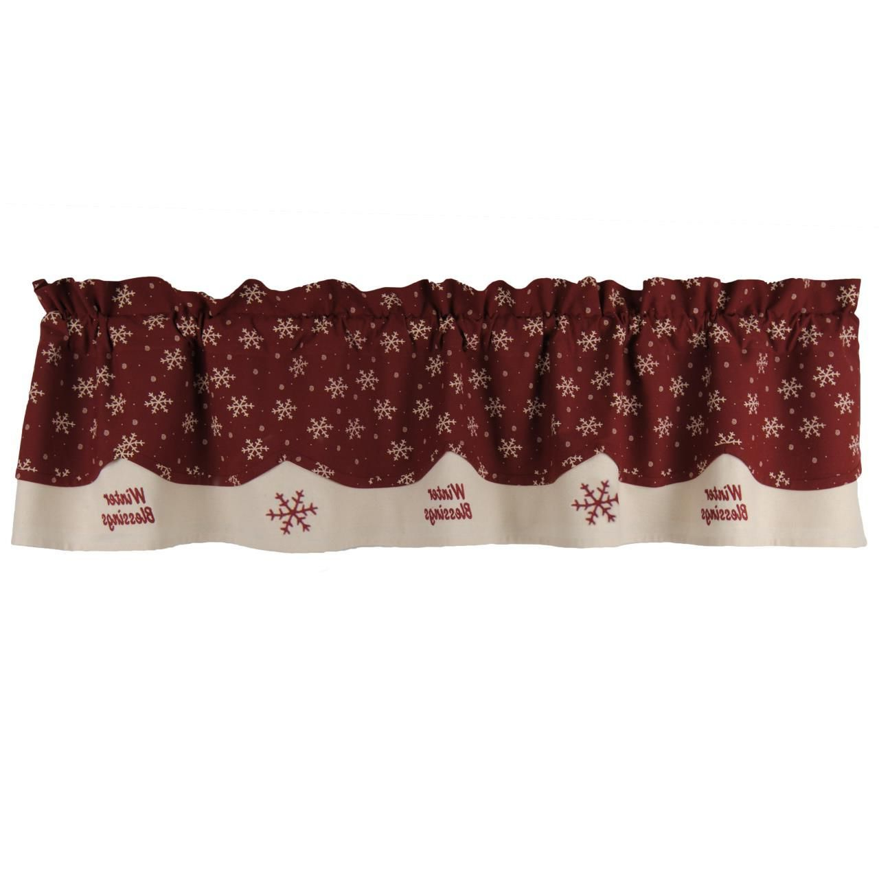 Most Current Lodge Plaid 3 Piece Kitchen Curtain Tier And Valance Sets With Regard To Winter Blessings Valance – 72X15.5 Exclusive 2017 (Gallery 9 of 20)