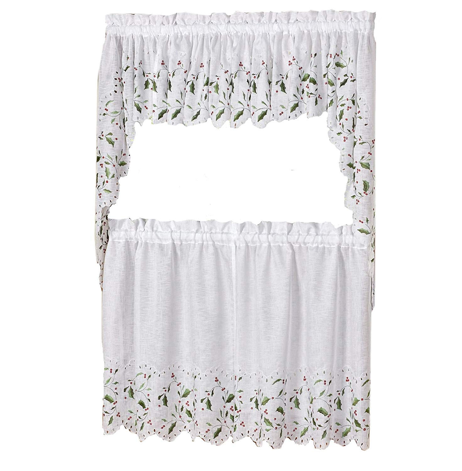 """Most Current Lorraine Home Fashions Floral Holly And Berries Cutwork Embroidered Kitchen Curtain Tier And Swag Set, Complete Holiday Curtain Set – 36"""" Set For Floral Lace Rod Pocket Kitchen Curtain Valance And Tiers Sets (View 7 of 20)"""