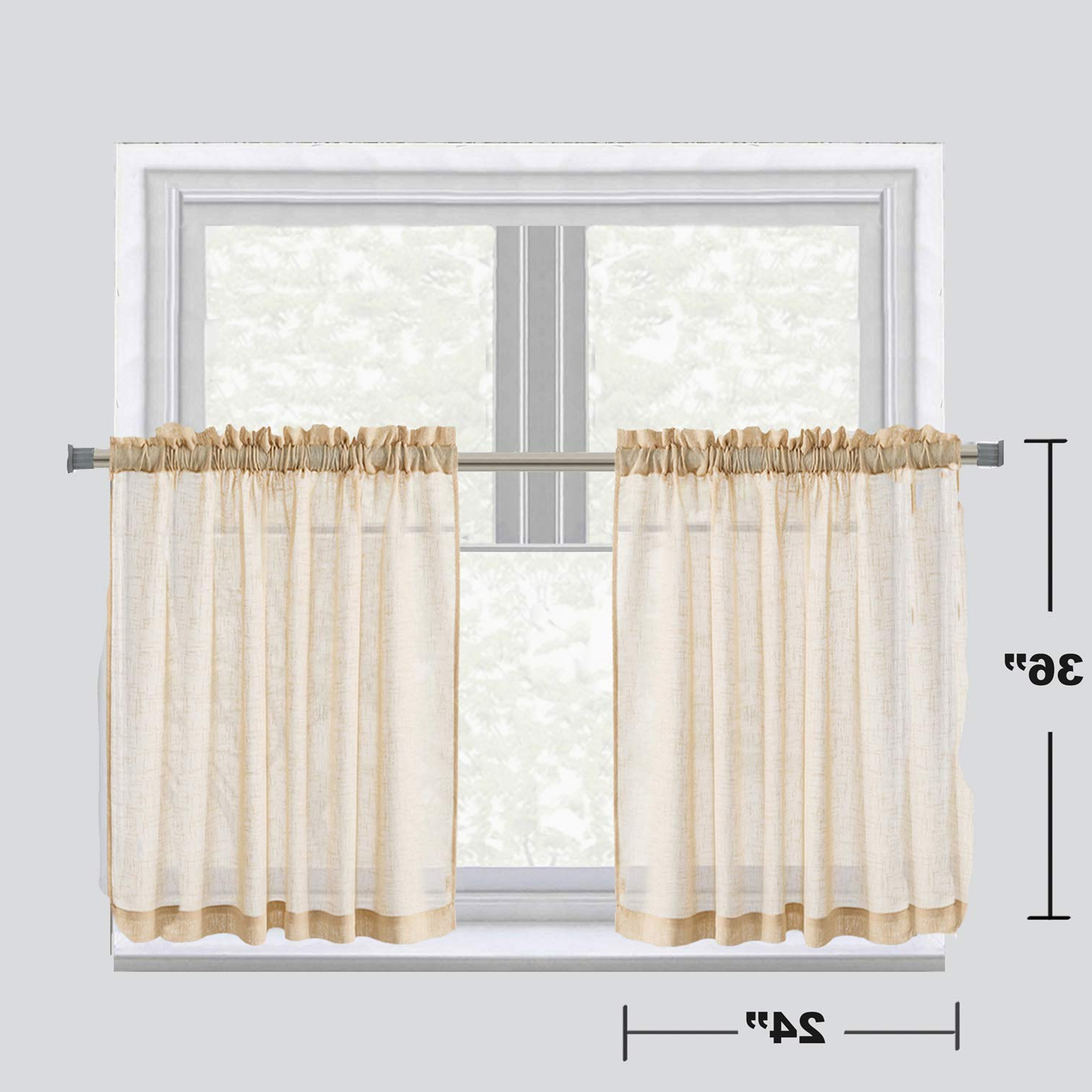 "Most Current Luckyum Taupe Kitchen Tier Curtain Linen Like Privacy Semi Sheer Panels Half Window Treatment For Bedroom And Kitchen, 2 Pair, 24"" 36"",rod Pocket Inside Semi Sheer Rod Pocket Kitchen Curtain Valance And Tiers Sets (View 1 of 20)"