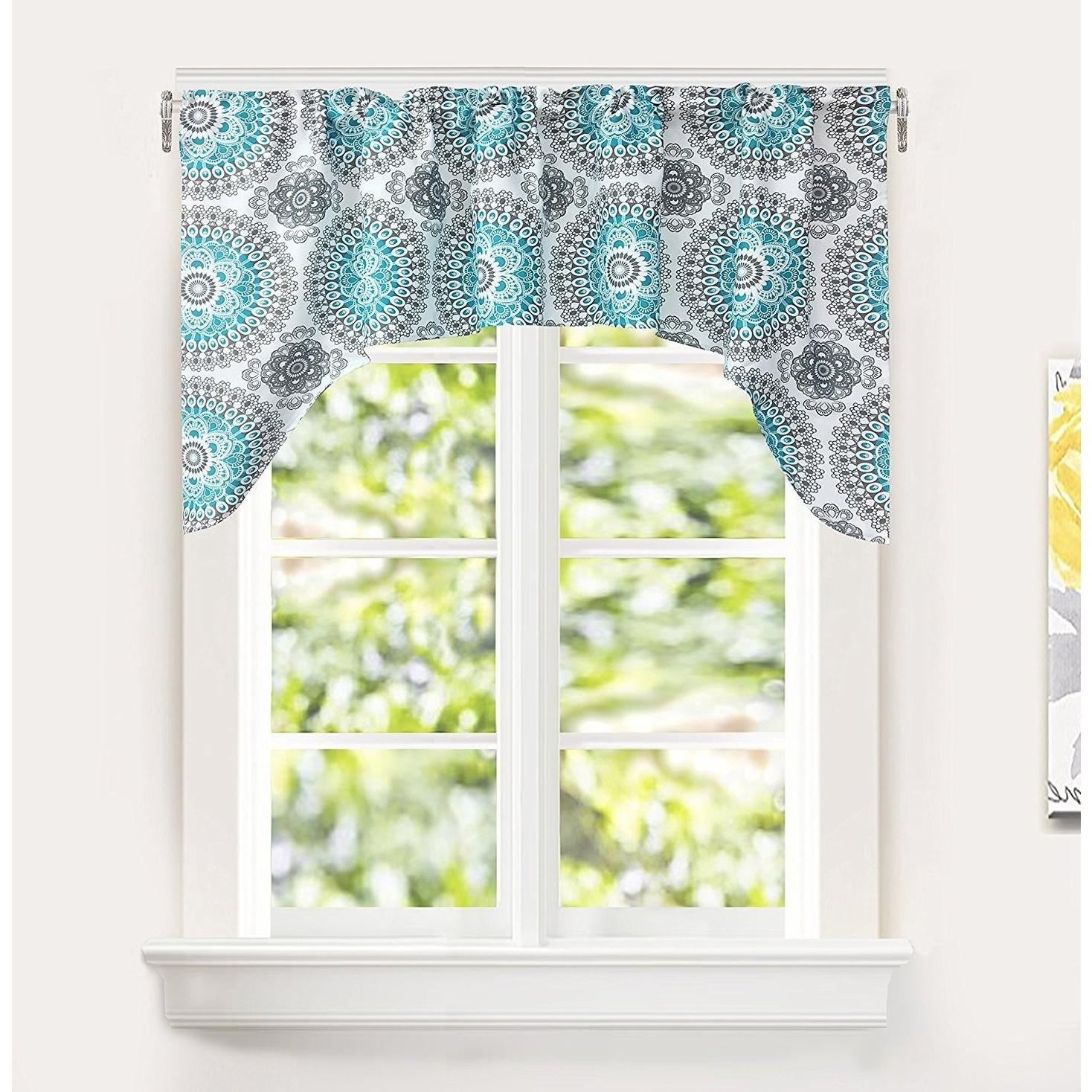 Most Current Medallion Window Curtain Valances Inside Driftaway Bella Medallion Pattern Kitchen Swag Valance (View 10 of 20)