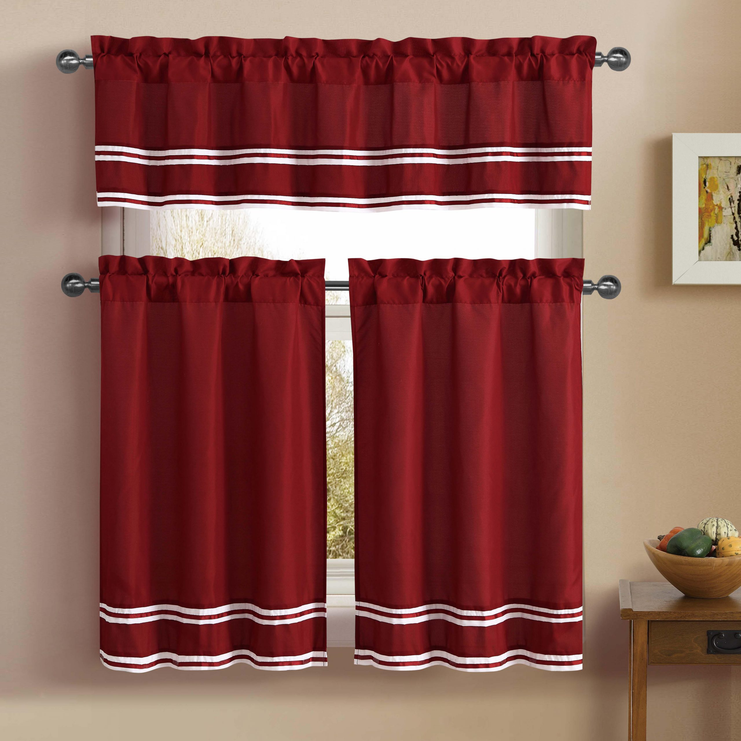Most Current Pintuck Kitchen Window Tiers Intended For 3 Piece Kitchen Cafe/tiers Window Treatment Set: Pintuck Accent Stripes, 2 Tier Panels, 1 Valance (Red) (Gallery 14 of 20)