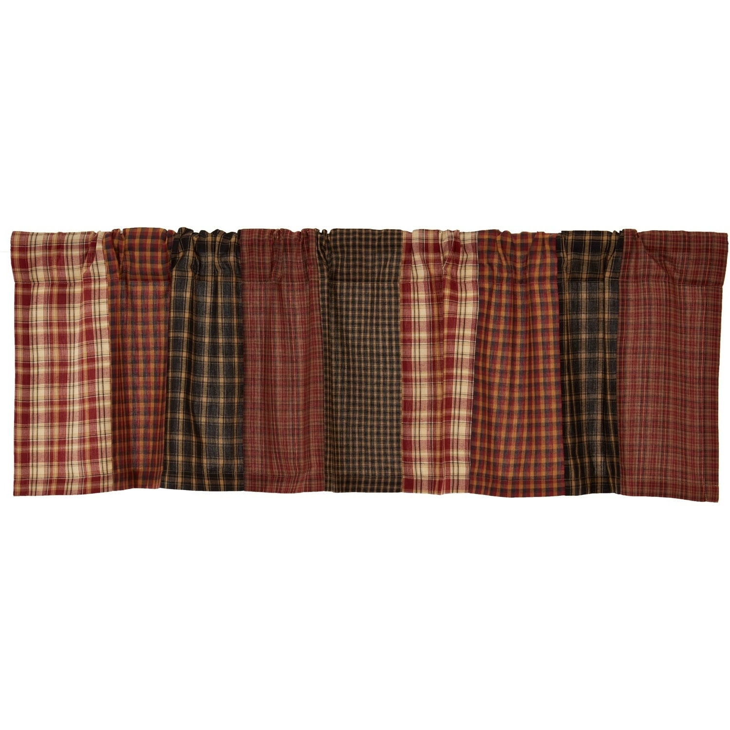 Most Current Red Rustic Kitchen Curtains Intended For Red Rustic Kitchen Curtains Vhc Beckham Patchwork Valance Rod Pocket Cotton (Gallery 16 of 20)