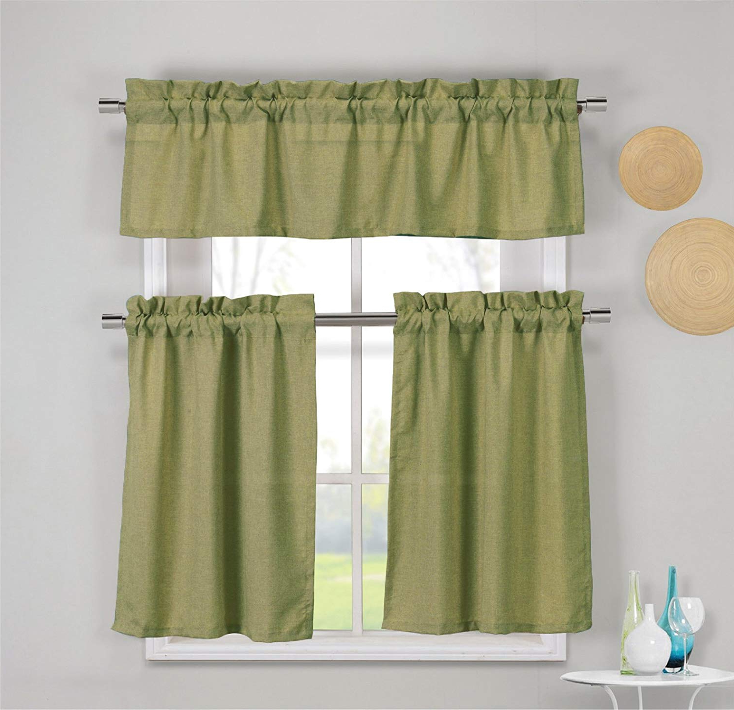 Most Current Solid Microfiber 3 Piece Kitchen Curtain Valance And Tiers Sets Regarding 3 Piece Faux Cotton Kitchen Window Curtain Panel Set With 1 Valance And 2  Tier Panel Curtains (Espresso Brown) (Gallery 2 of 20)