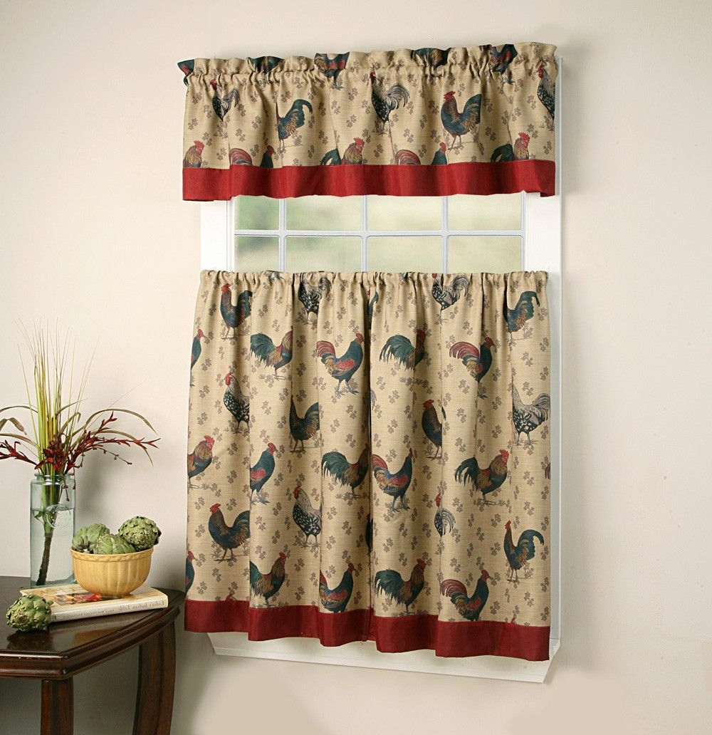 Most Current Top Of The Morning Printed Tailored Cottage Curtain Tier Sets In Rooster Themed Kitchen Curtains And Valances Sets (View 19 of 20)