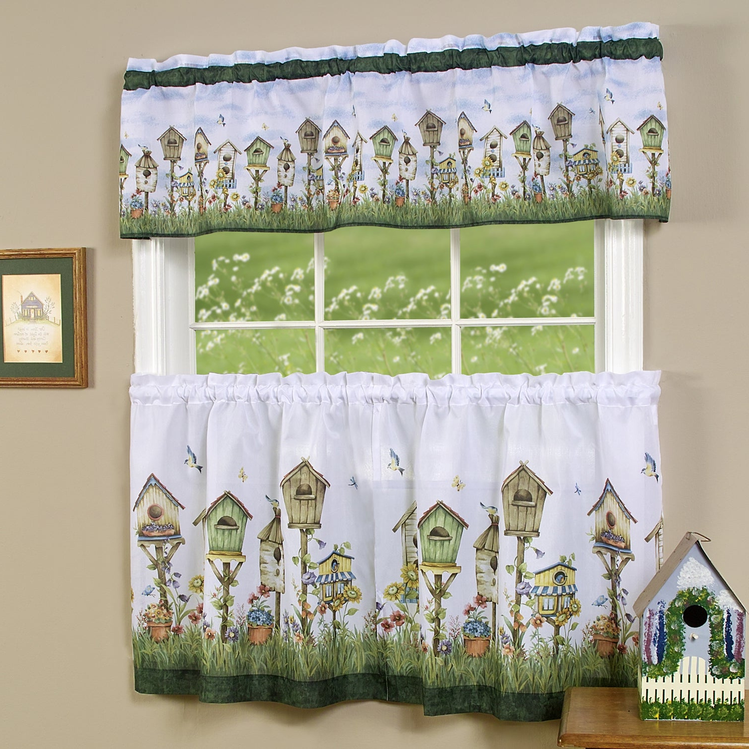 Most Current Traditional Two Piece Tailored Tier And Valance Window Curtains With Regard To Traditional Two Piece Tailored Tier And Valance Window Curtains Set With Whimsical Birdhouse Print – 36 Inch (Gallery 4 of 20)