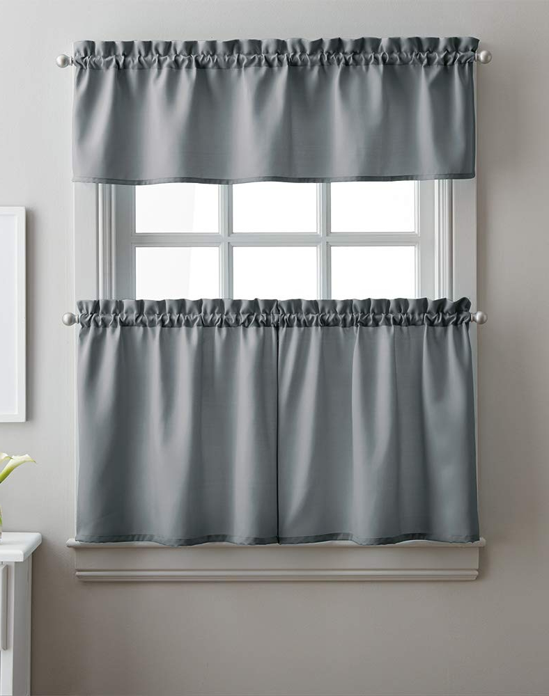 Most Current Twill 3 Piece Kitchen Curtain Tier Sets Inside Amazon: Solid Twill 3 Piece Kitchen Curtain Set, Rod (View 3 of 20)