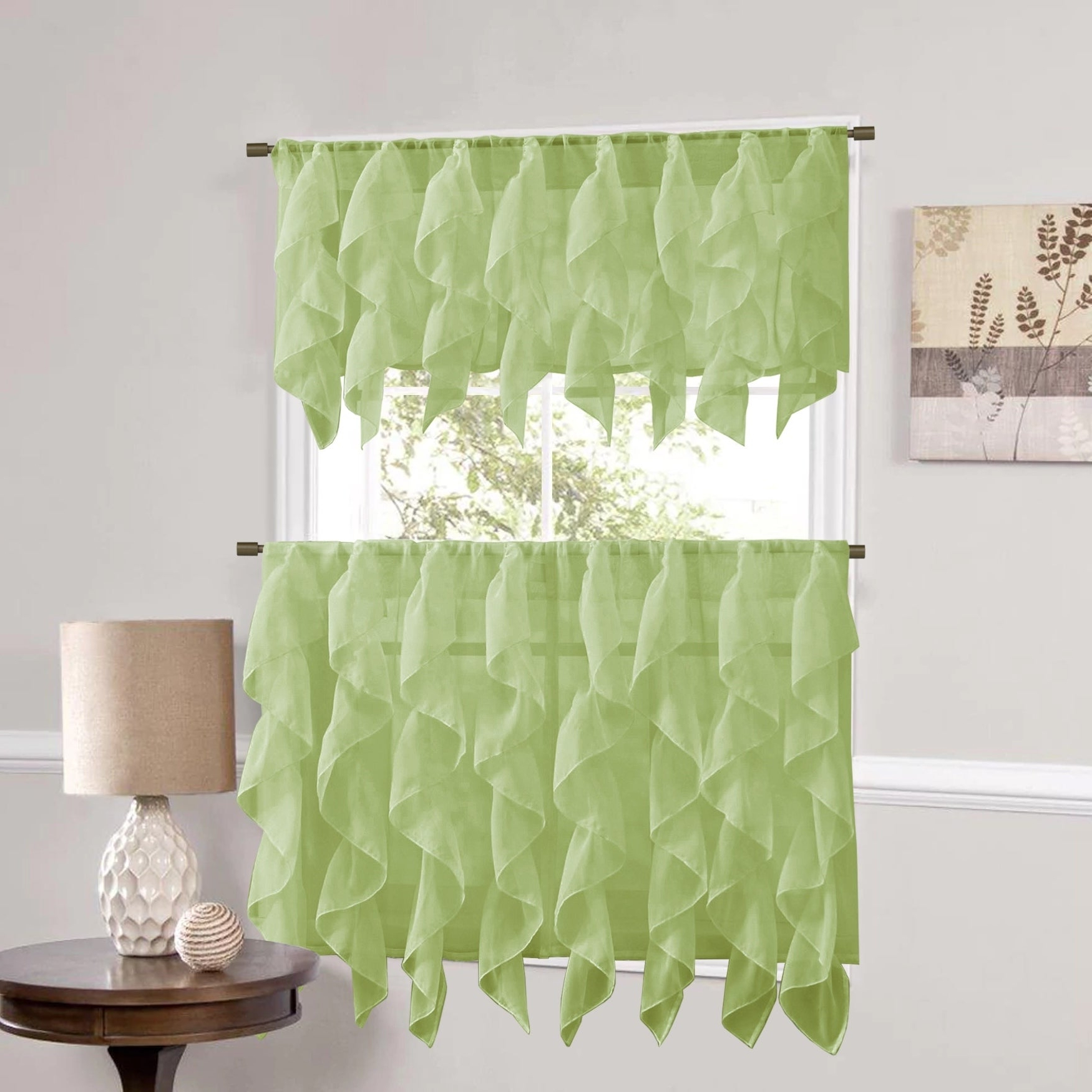 Most Current Vertical Ruffled Waterfall Window Curtain Pieces  Valance And Tiers Options  (Sage) For Maize Vertical Ruffled Waterfall Valance And Curtain Tiers (Gallery 6 of 20)