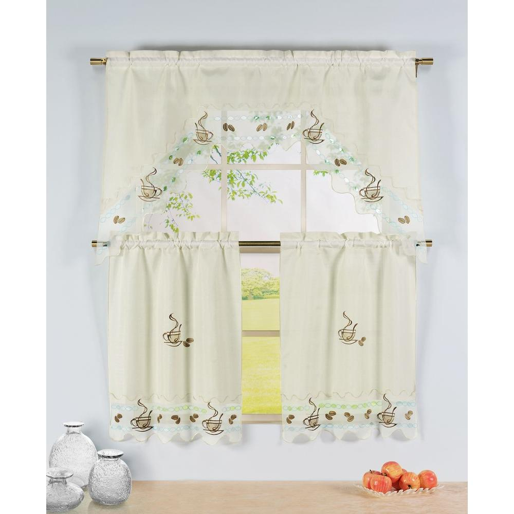 Most Current Window Curtain Tier And Valance Sets Within Window Elements Semi Opaque Coffee Talk Embroidered 3 Piece Kitchen Curtain Tier And Valance Set (Gallery 10 of 20)