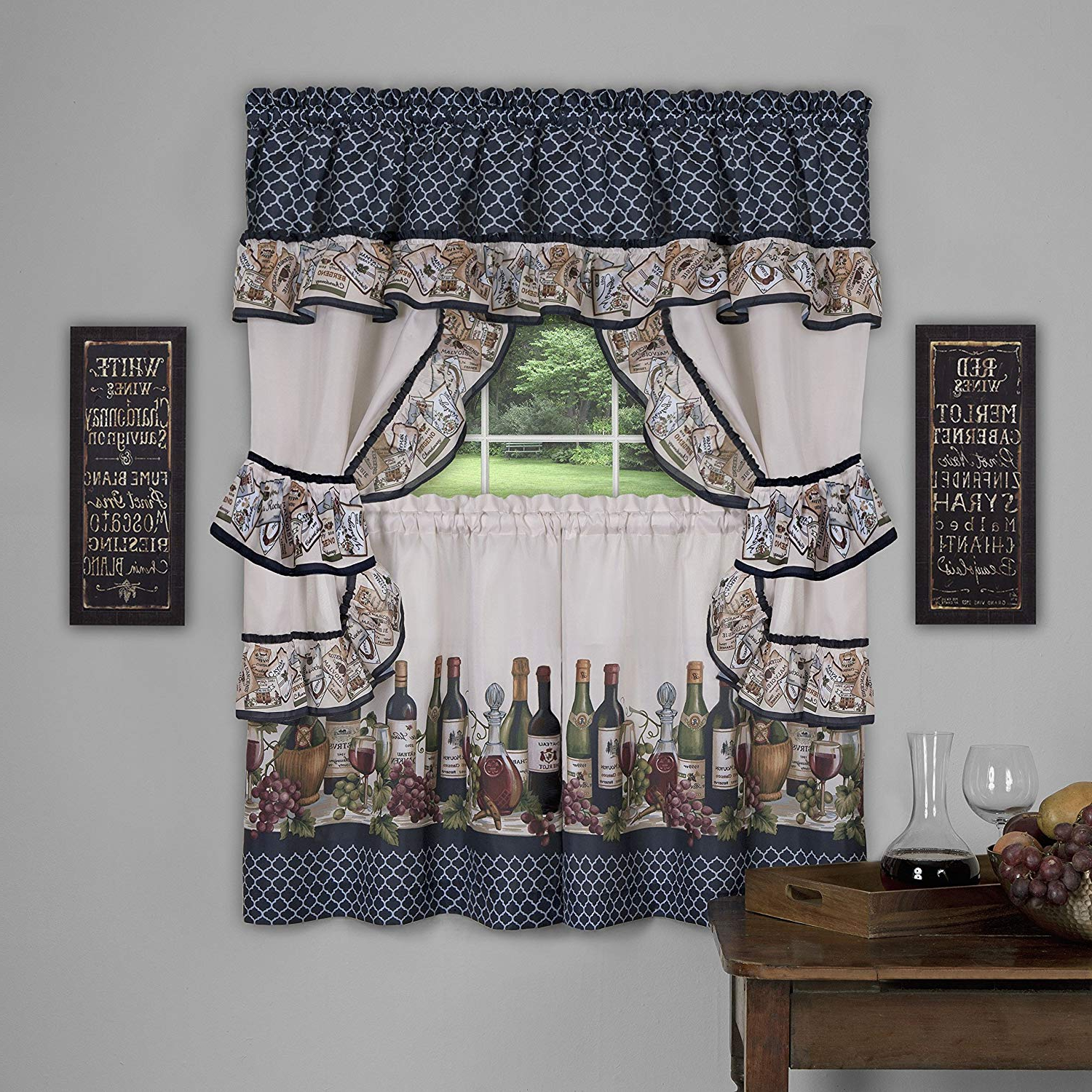 Most Popular 5 Piece Burgundy Embroidered Cabernet Kitchen Curtain Sets Intended For Achim Home Furnishings Chateau Window Curtain Cottage Set, 57 Inch X 36 Inch, Navy, 57 X 36, (View 19 of 20)