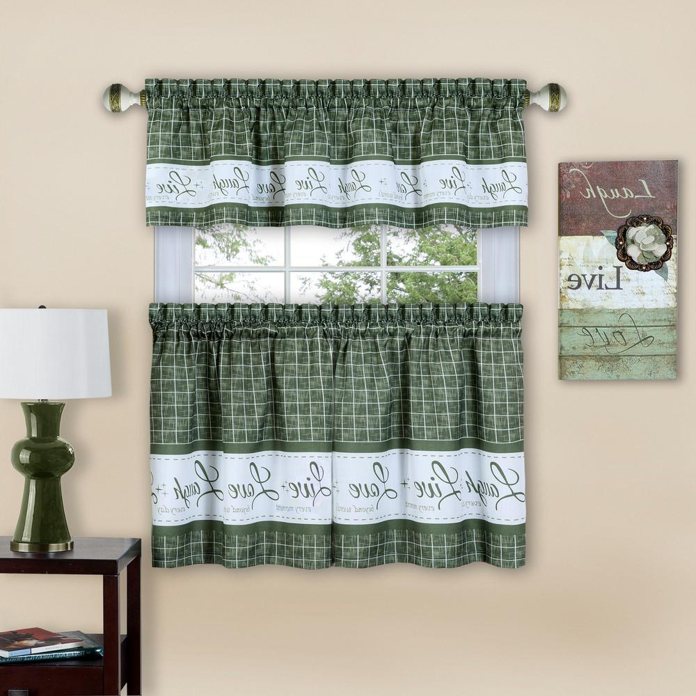 Most Popular Achim Live, Love, Laugh 58 In. W X 36 In. L Green Polyester Tier And Valance Curtain Set Intended For Coastal Tier And Valance Window Curtain Sets (Gallery 11 of 20)