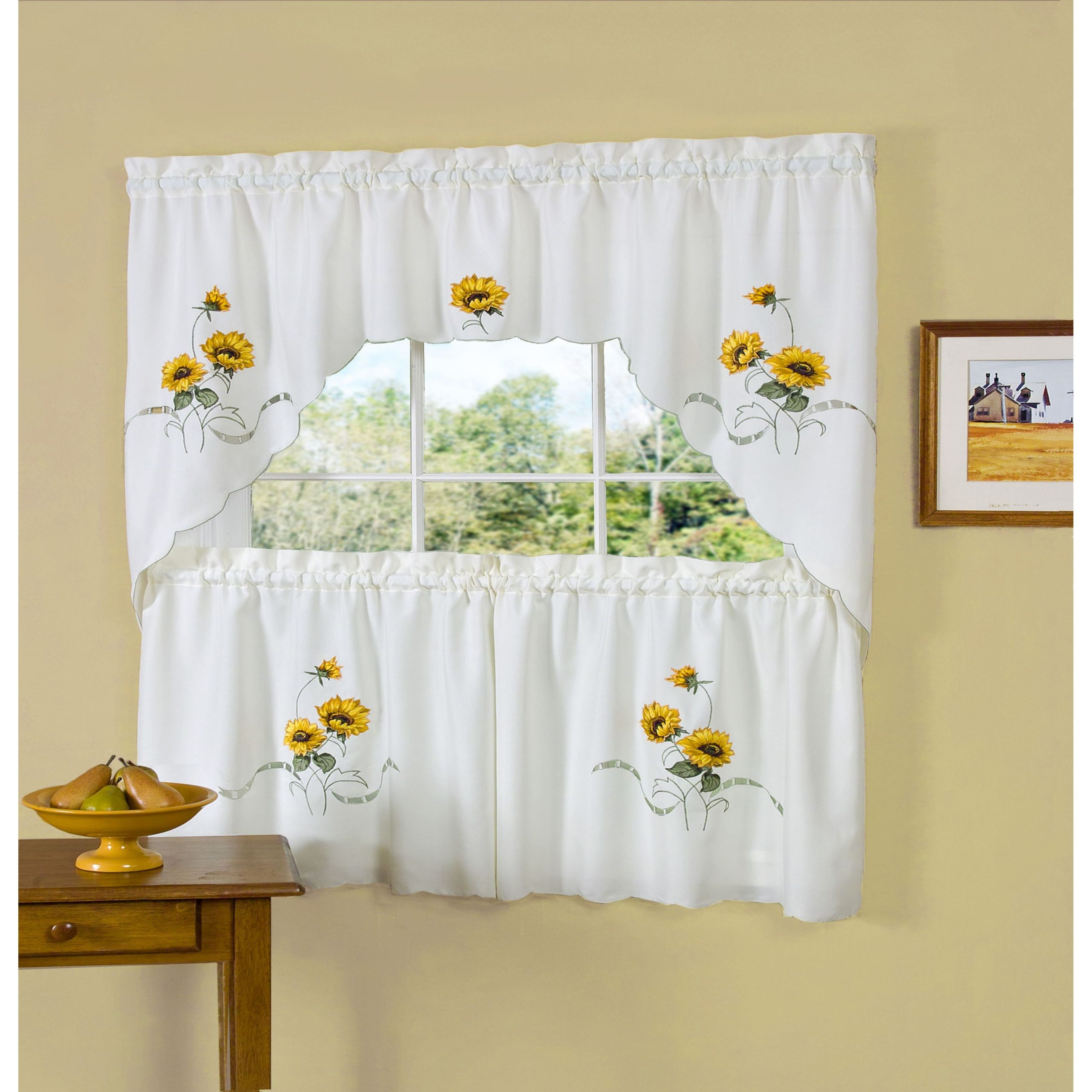 Most Popular Achim Sunshine Embellished Tier And Swag Window Set Regarding Spring Daisy Tiered Curtain 3 Piece Sets (View 9 of 20)