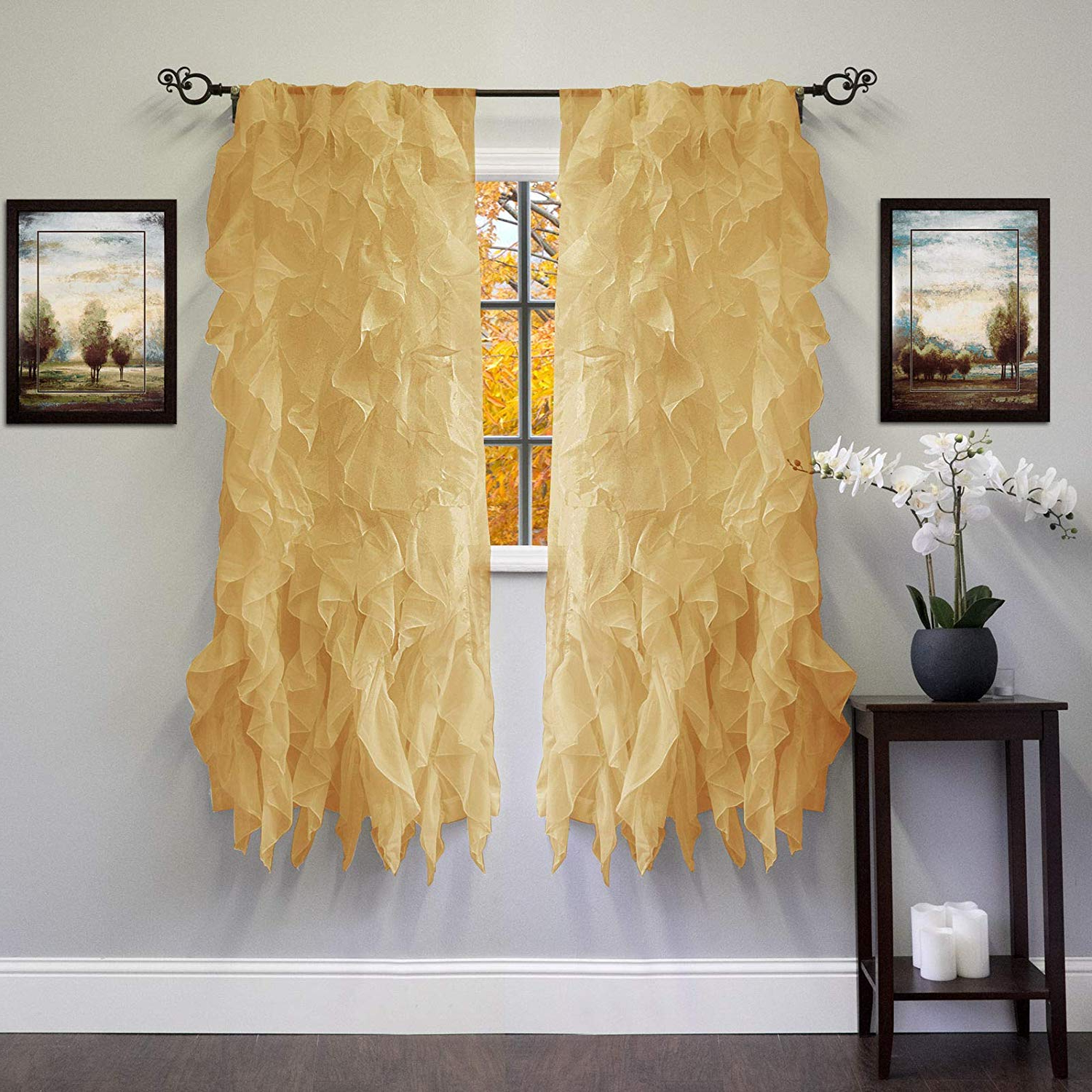 Most Popular Amazon: Abeautifulseller Chic Sheer Voile Vertical Regarding Chic Sheer Voile Vertical Ruffled Window Curtain Tiers (View 4 of 20)