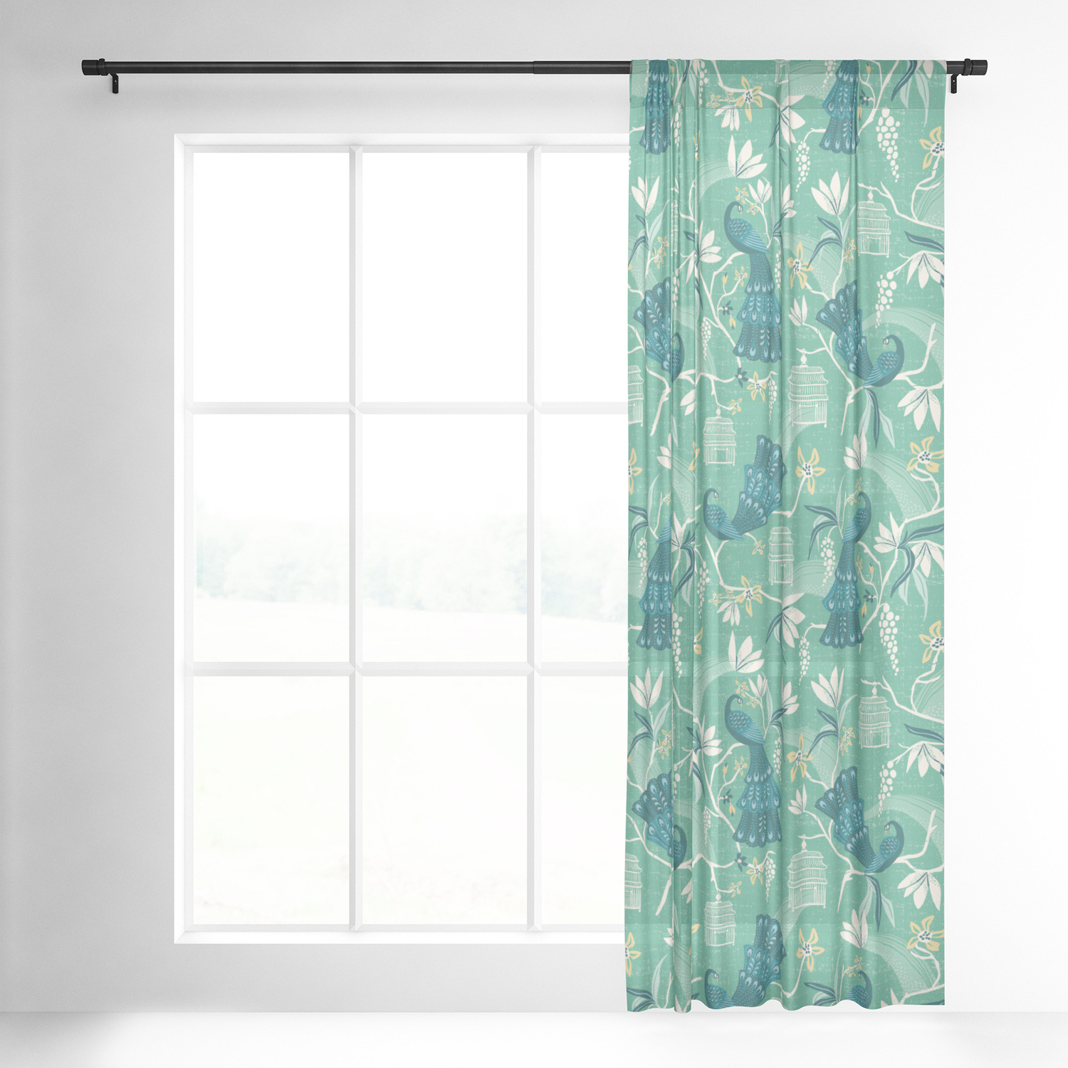 Most Popular Aviary Window Curtains With Regard To Aviary – Green Sheer Curtainheatherduttonhangtightstudio (View 11 of 20)