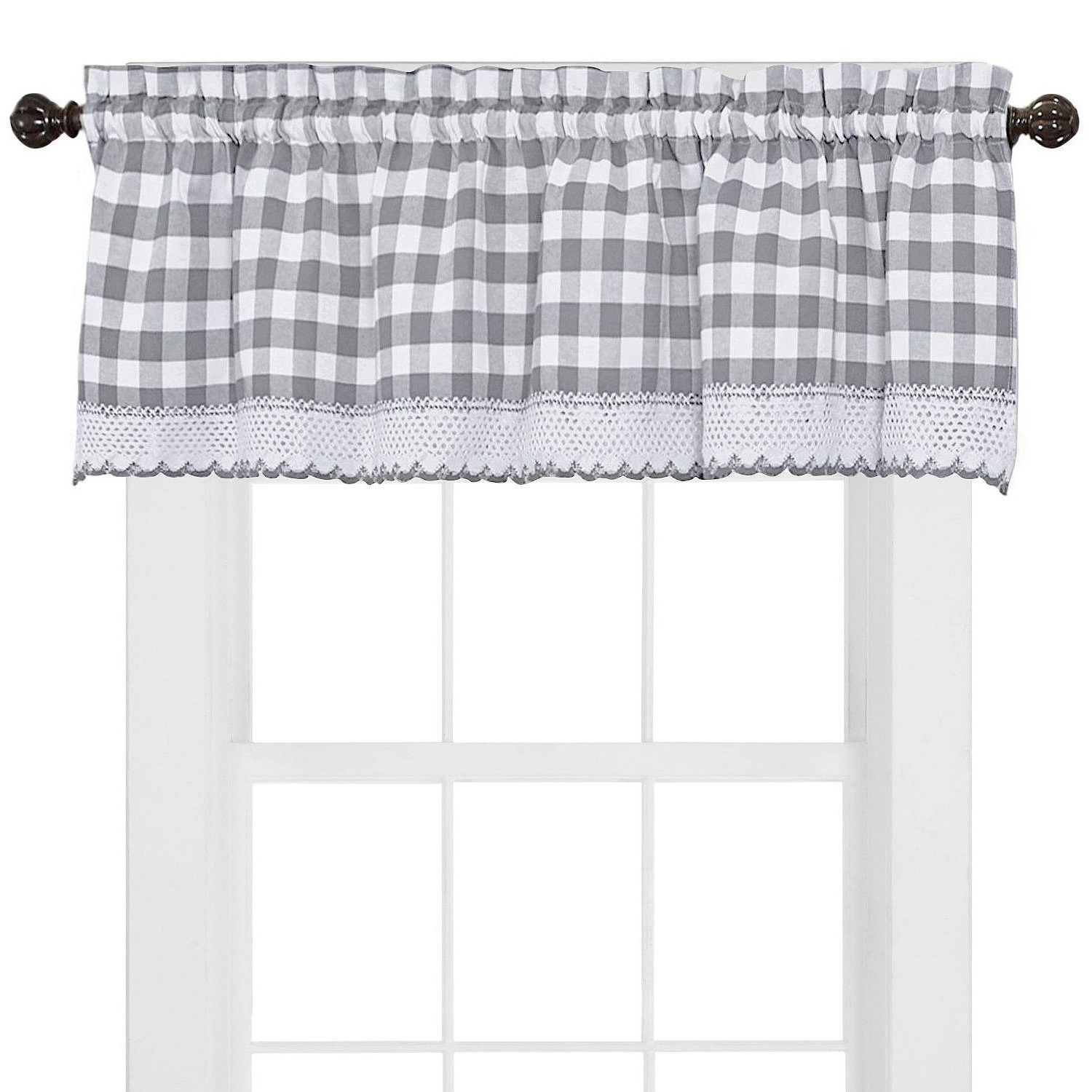 Most Popular Buffalo Check Cotton Blend Grey Kitchen Curtain Valance In Cumberland Tier Pair Rod Pocket Cotton Buffalo Check Kitchen Curtains (View 16 of 20)