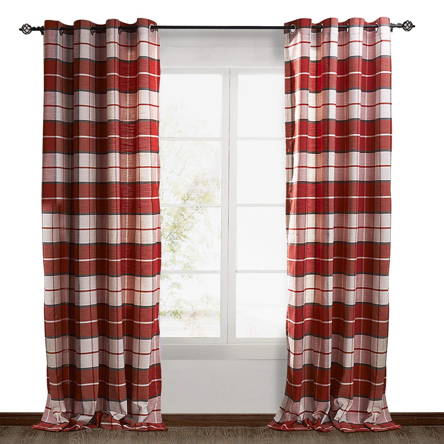Most Popular Chadmade Check Plaid Cotton Nickel Grommet Eyelet Blackout Lined Window  Curtain Panel Drapes (1 Panel) Red 50Wx96L Inch Throughout Burgundy Cotton Blend Classic Checkered Decorative Window Curtains (Gallery 13 of 20)