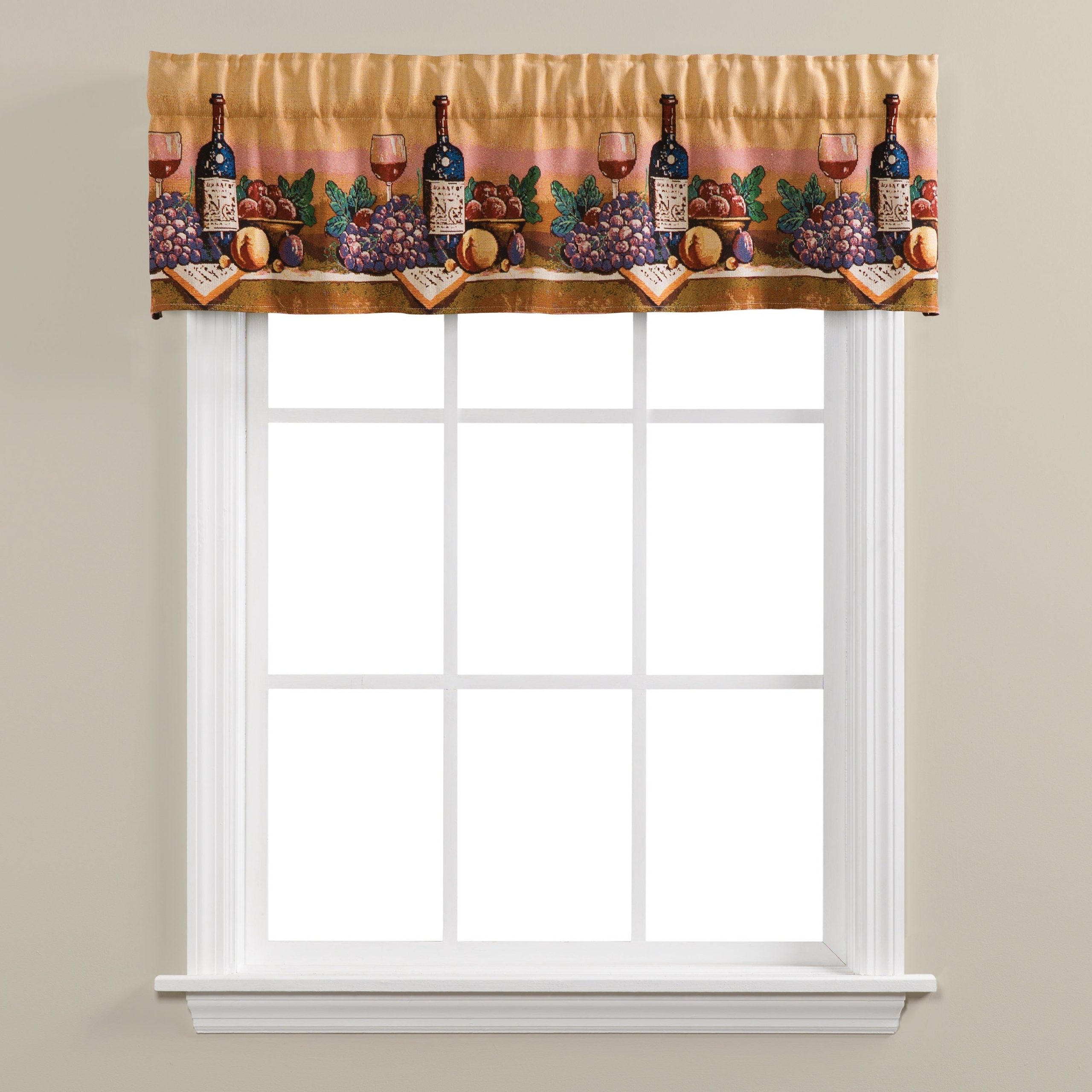 Most Popular Chateau Wines Cottage Kitchen Curtain Tier And Valance Sets Throughout Skl Home Uncork And Unwind Tapestry Valance (Gallery 5 of 20)