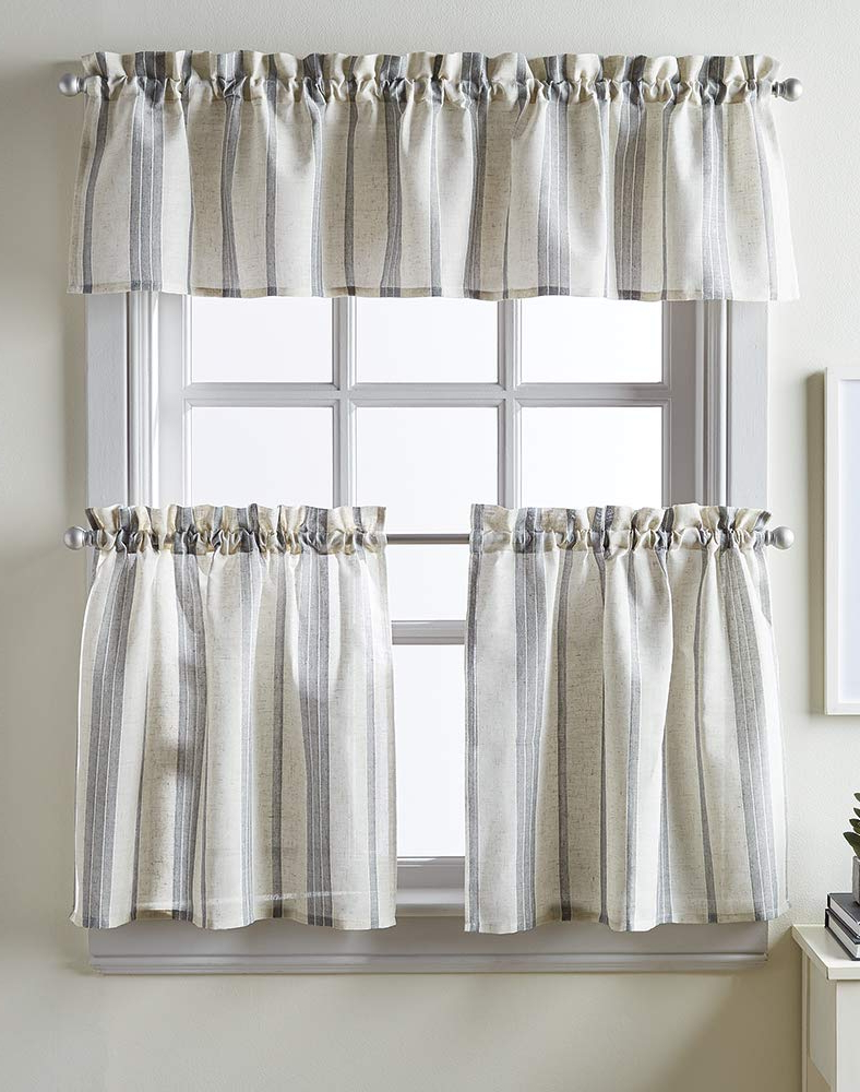 Most Popular Chf Mckenzie Striped Window Kitchen Curtain Valance, Rod Pocket, 58w X 14l Inch, Grey Inside Tree Branch Valance And Tiers Sets (View 18 of 20)